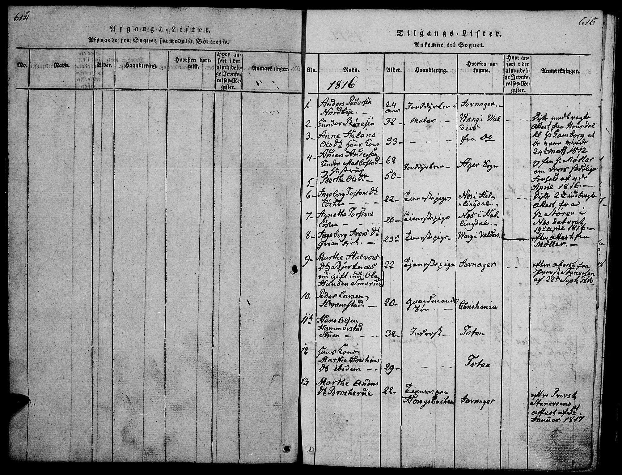 SAH, Gran prestekontor, Klokkerbok nr. 1, 1815-1824, s. 614-615