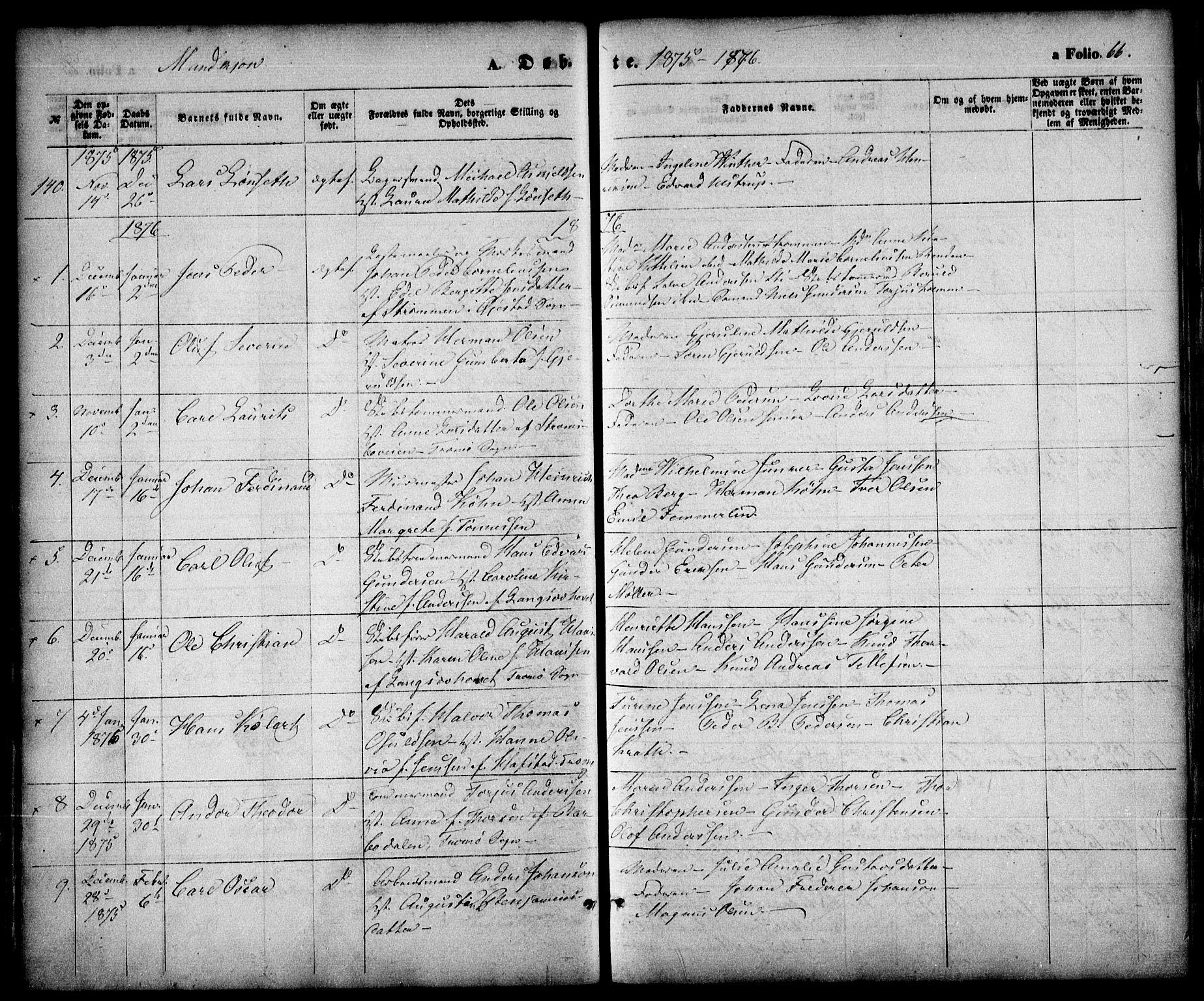 SAK, Arendal sokneprestkontor, Trefoldighet, F/Fa/L0007: Ministerialbok nr. A 7, 1868-1878, s. 66