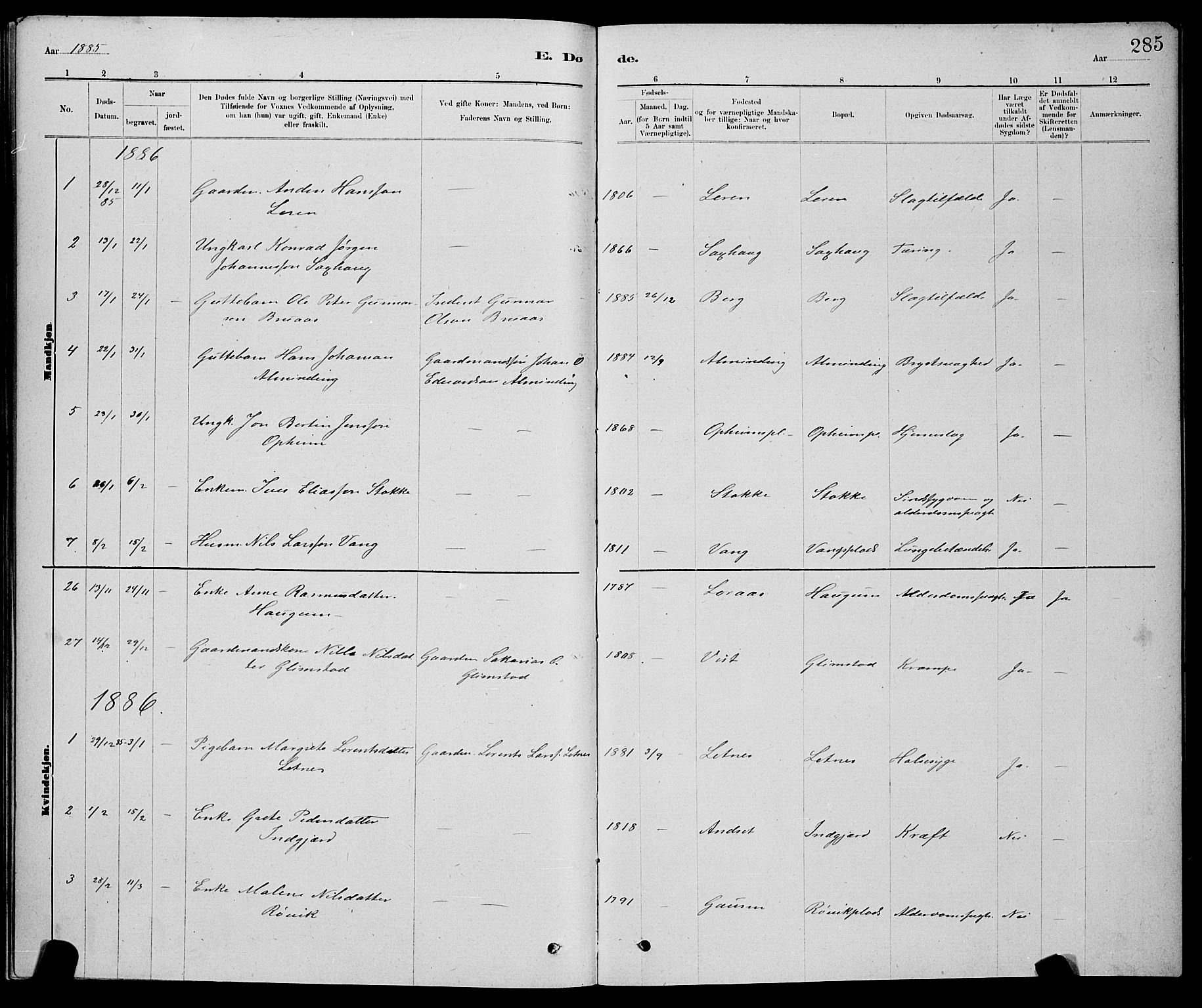 SAT, Ministerialprotokoller, klokkerbøker og fødselsregistre - Nord-Trøndelag, 730/L0301: Klokkerbok nr. 730C04, 1880-1897, s. 285