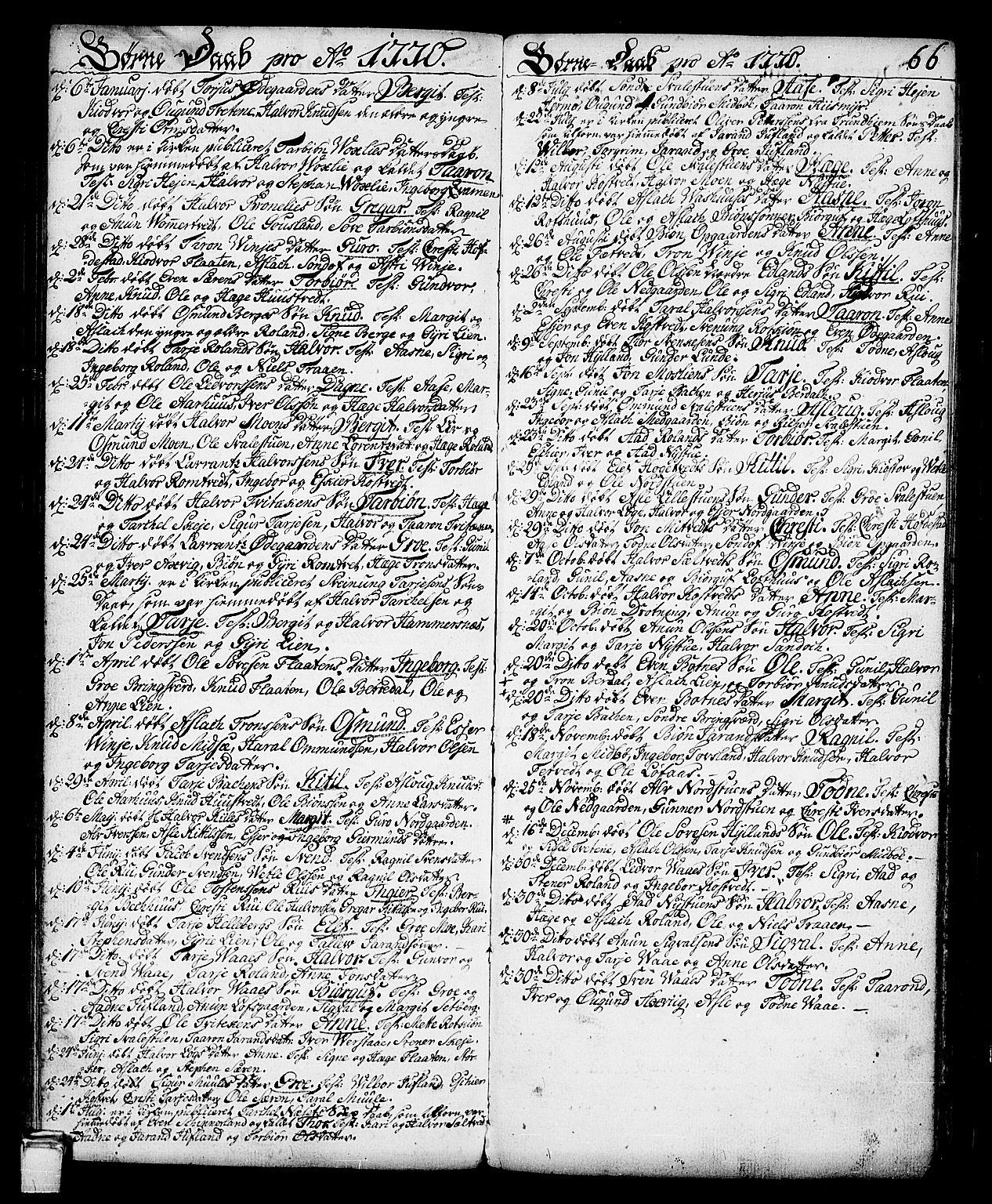 SAKO, Vinje kirkebøker, F/Fa/L0002: Ministerialbok nr. I 2, 1767-1814, s. 66