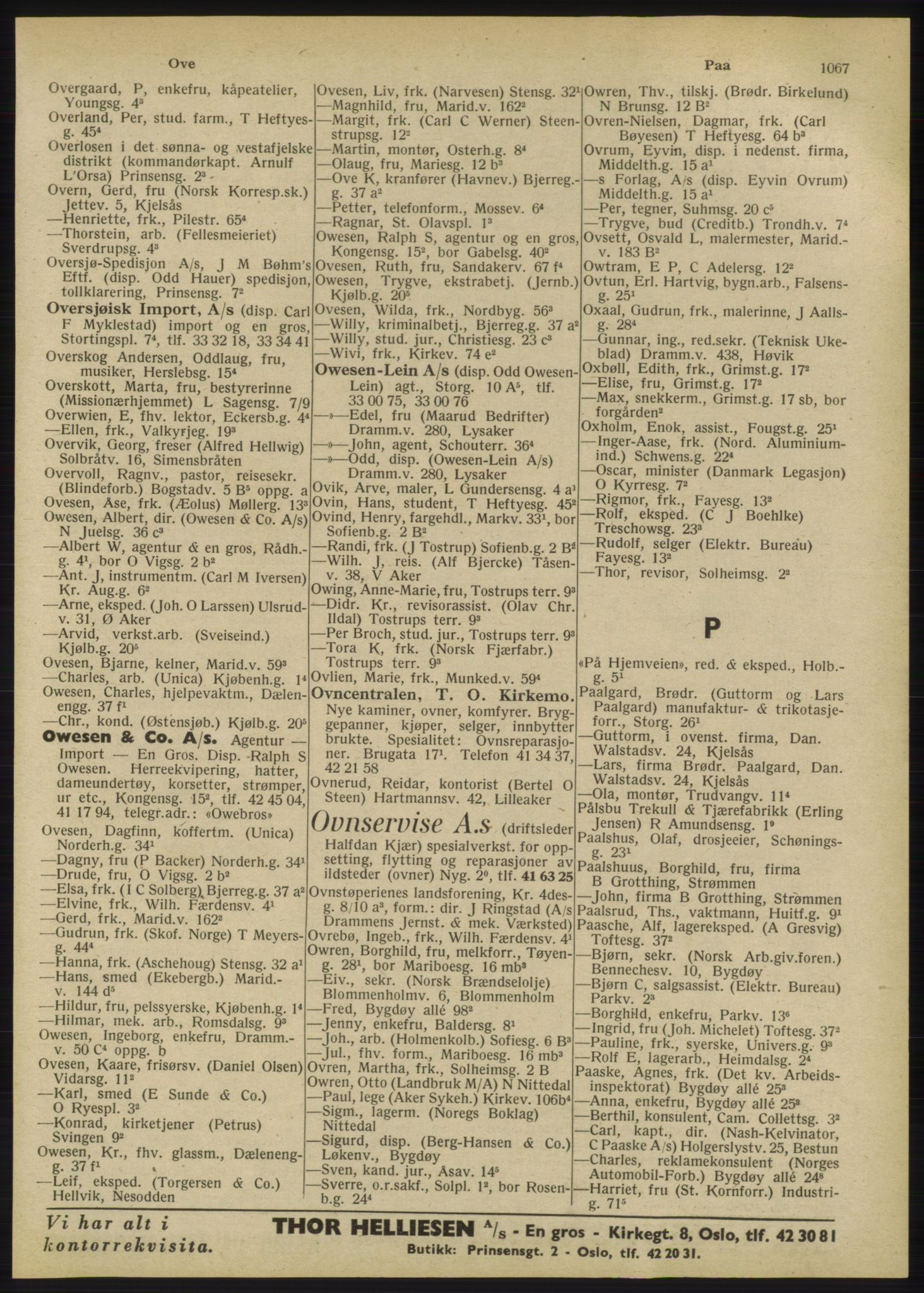 RA, Oslo adressebok (publikasjon)*, 1947, s. 1067