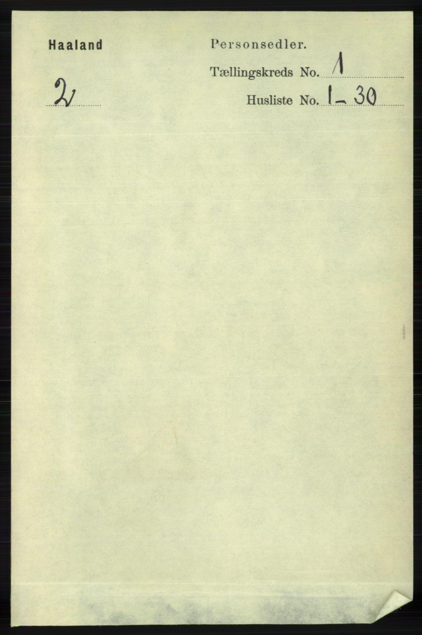 RA, Folketelling 1891 for 1124 Haaland herred, 1891, s. 130