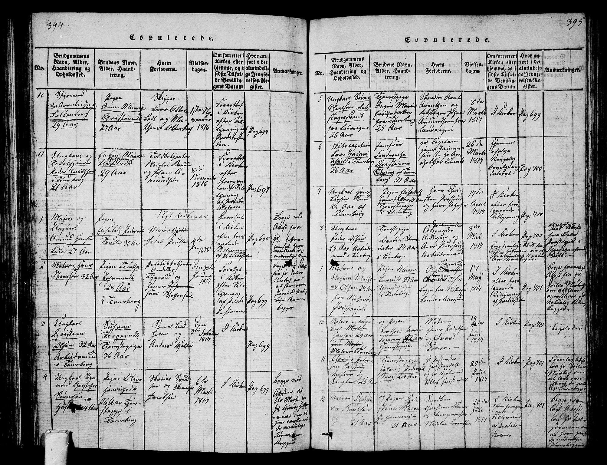 SAKO, Tønsberg kirkebøker, G/Ga/L0001: Klokkerbok nr. 1, 1813-1826, s. 394-395