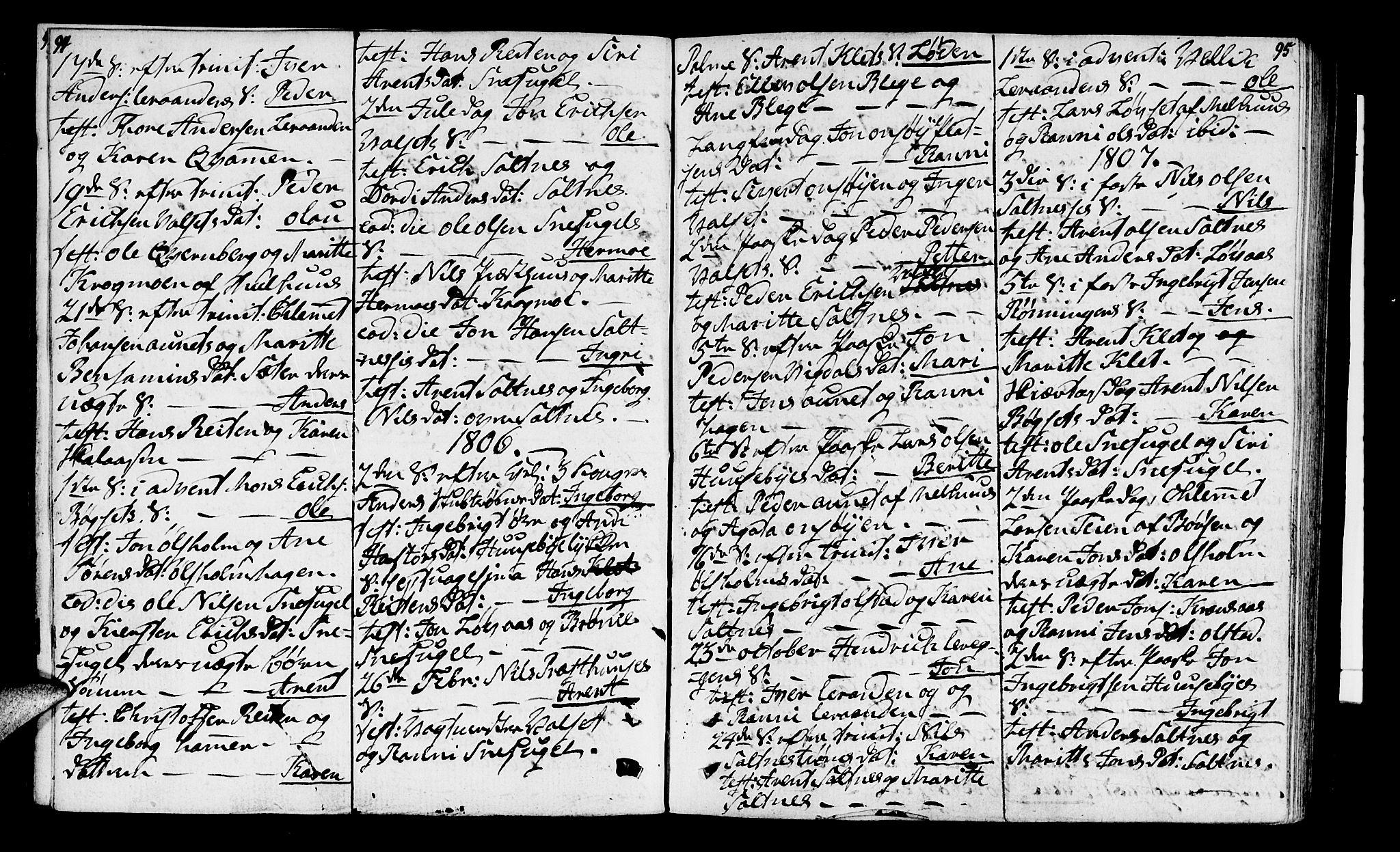 SAT, Ministerialprotokoller, klokkerbøker og fødselsregistre - Sør-Trøndelag, 666/L0785: Ministerialbok nr. 666A03, 1803-1816, s. 94-95