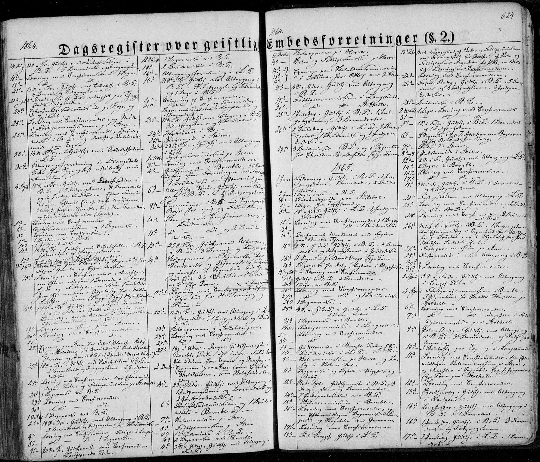 SAKO, Bamble kirkebøker, F/Fa/L0005: Ministerialbok nr. I 5, 1854-1869, s. 624