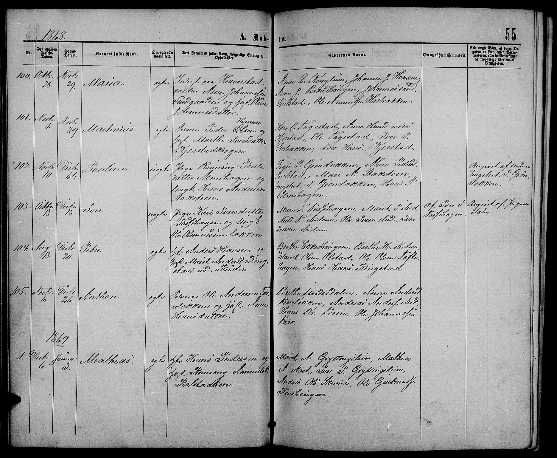 SAH, Sør-Fron prestekontor, H/Ha/Hab/L0002: Klokkerbok nr. 2, 1864-1883, s. 55