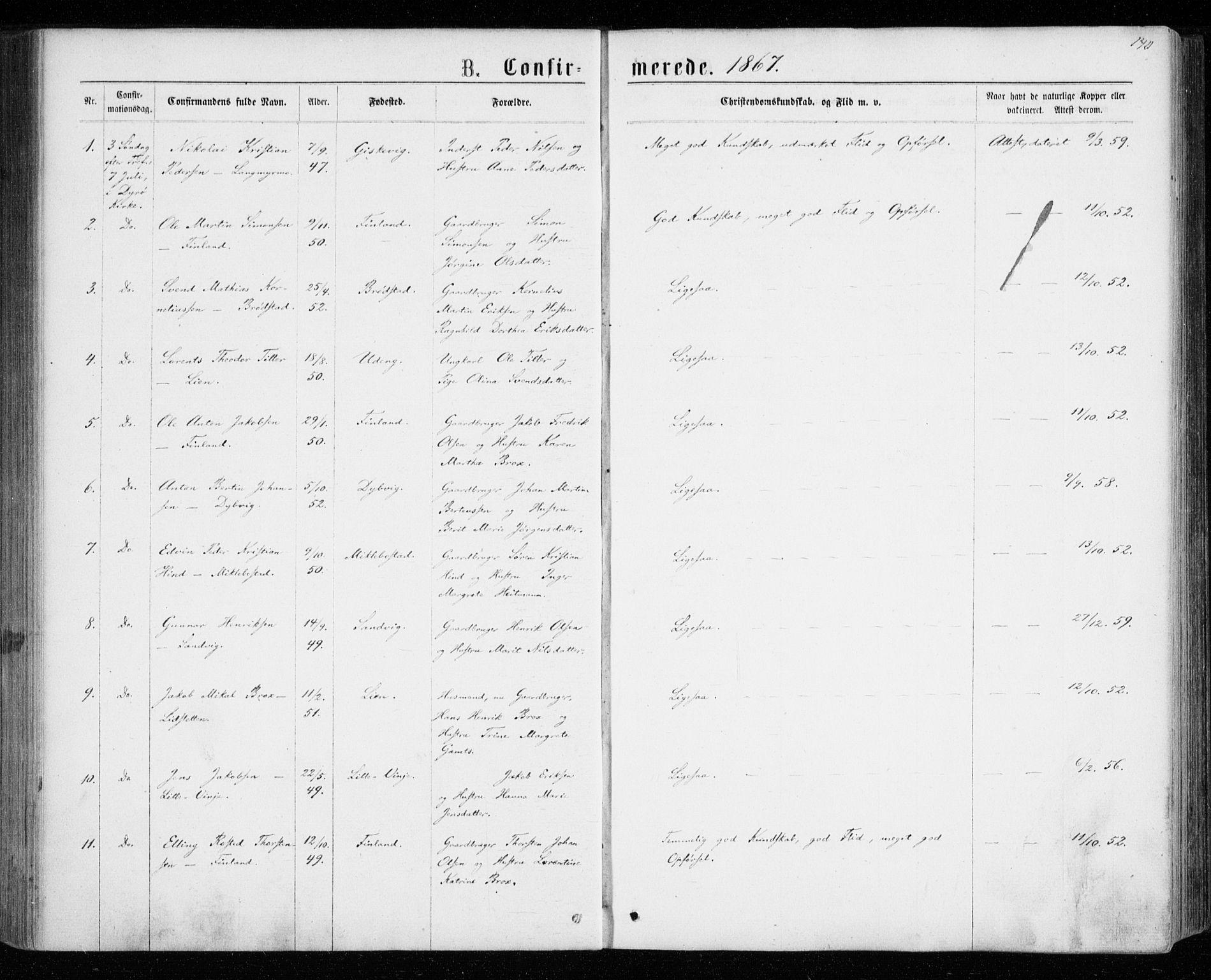 SATØ, Tranøy sokneprestkontor, I/Ia/Iaa/L0008kirke: Ministerialbok nr. 8, 1867-1877, s. 140