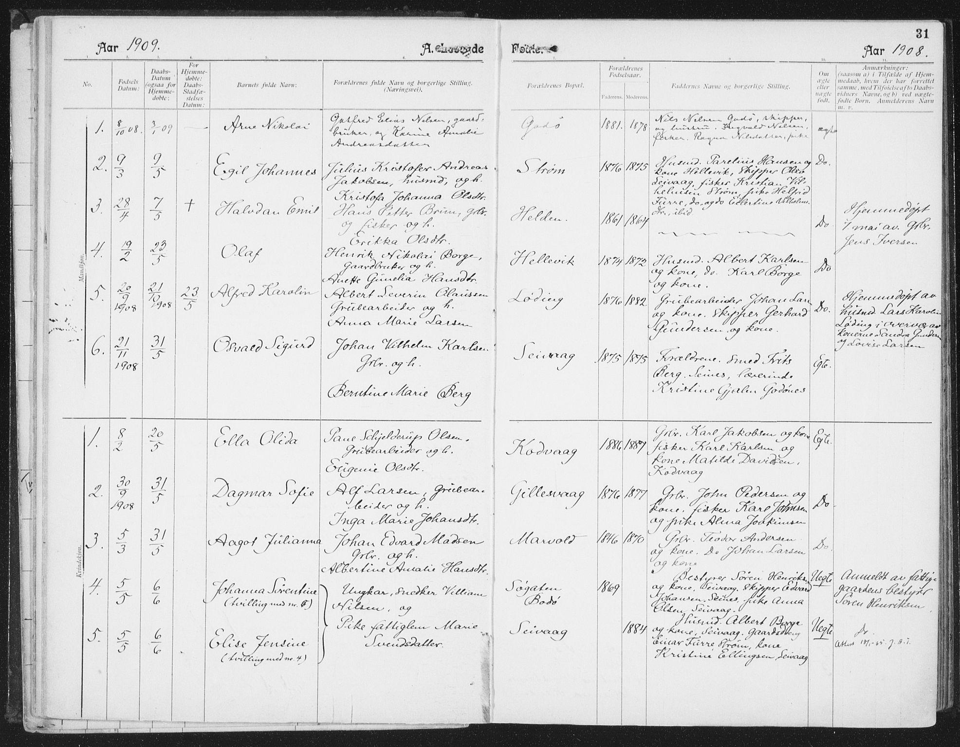 SAT, Ministerialprotokoller, klokkerbøker og fødselsregistre - Nordland, 804/L0081: Ministerialbok nr. 804A02, 1901-1915, s. 31