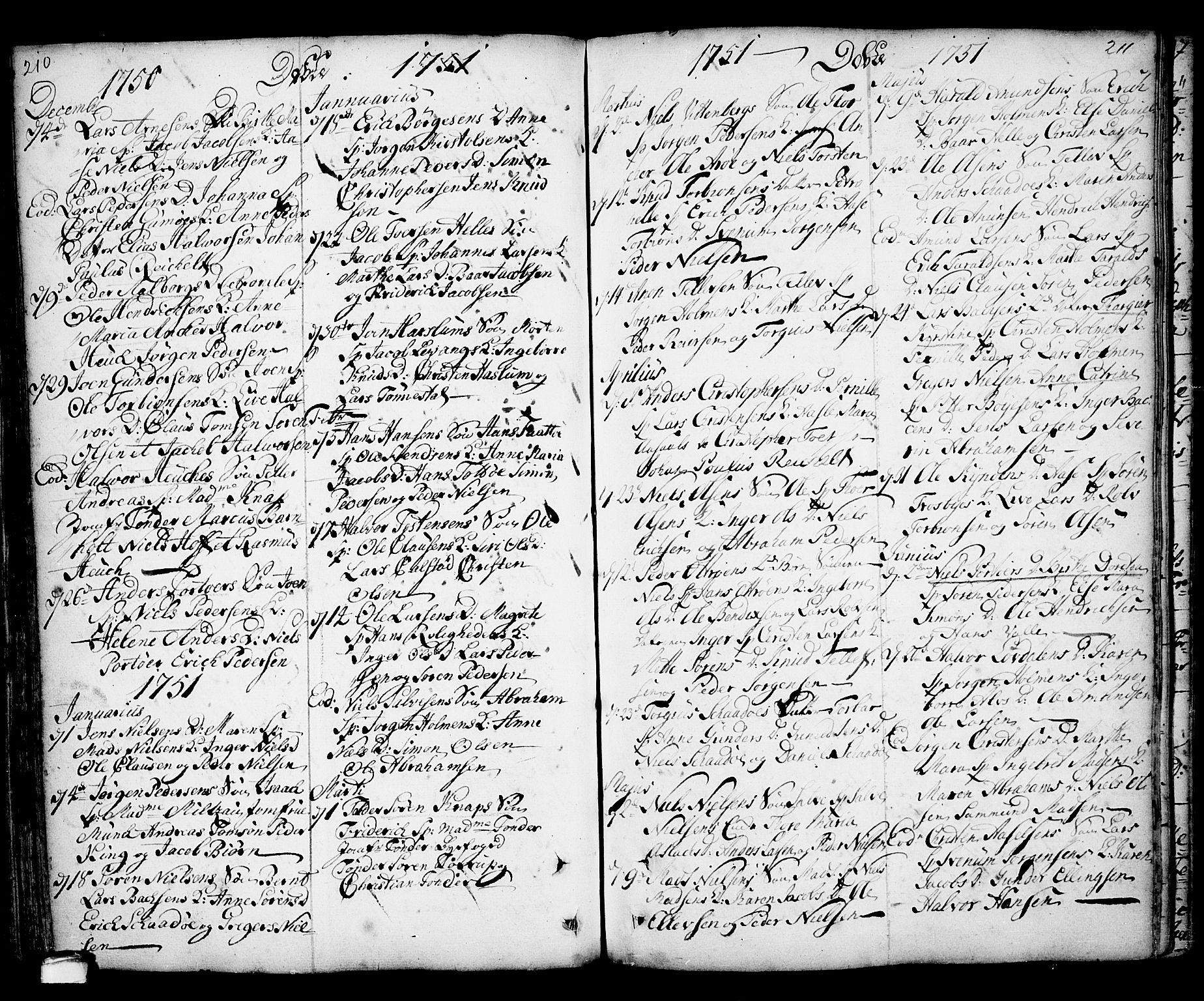 SAKO, Kragerø kirkebøker, F/Fa/L0001: Ministerialbok nr. 1, 1702-1766, s. 210-211