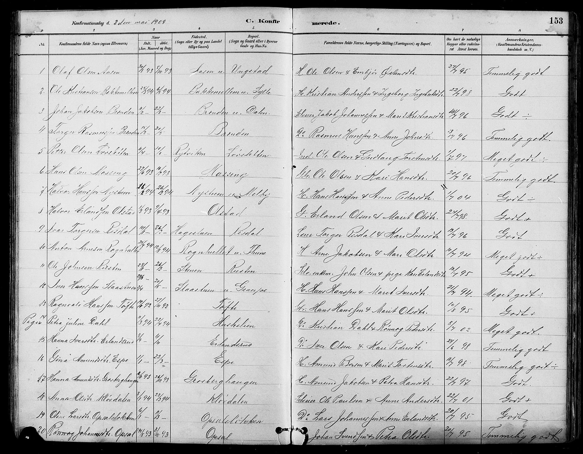 SAH, Nord-Fron prestekontor, Klokkerbok nr. 5, 1884-1914, s. 153