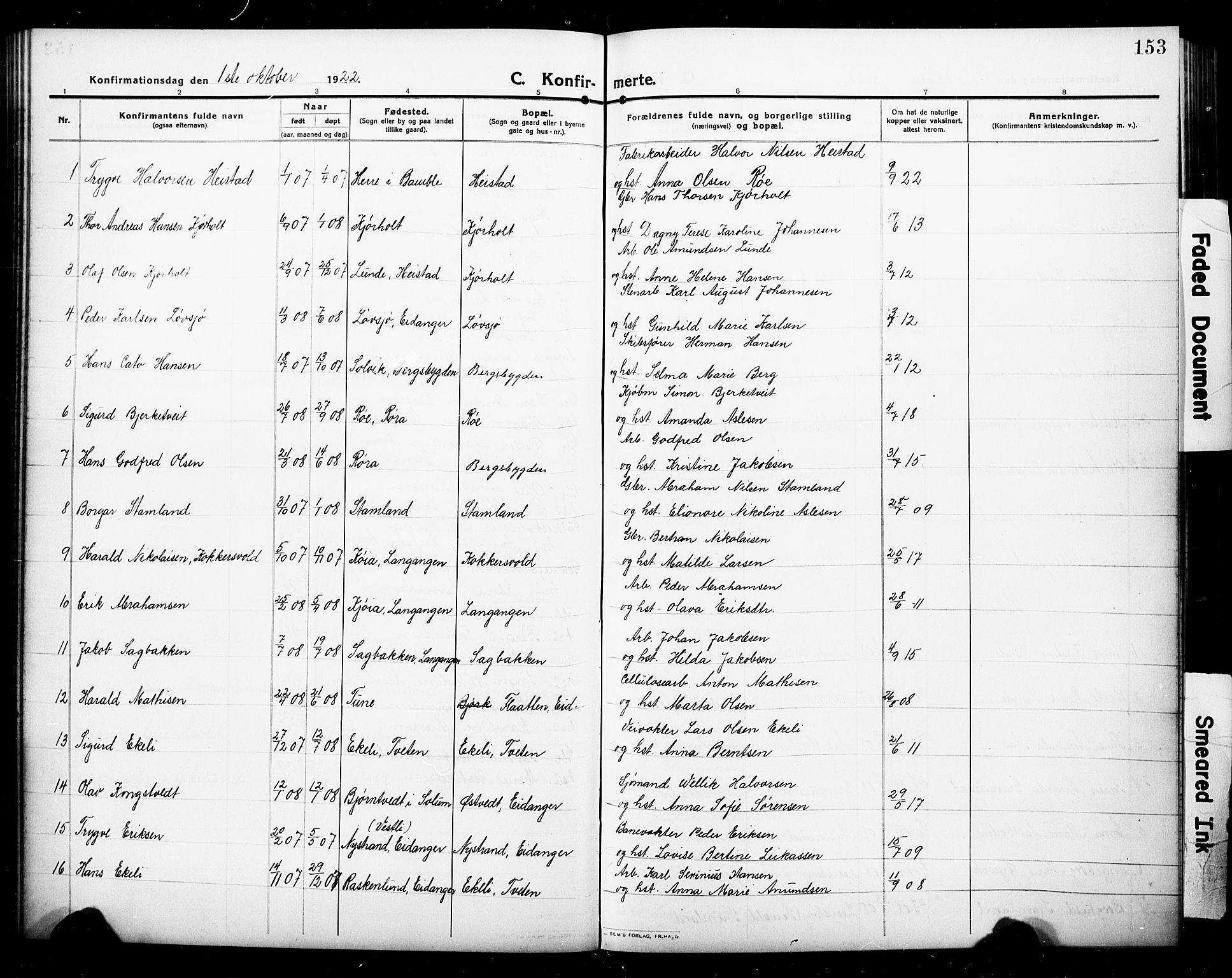 SAKO, Eidanger kirkebøker, G/Ga/L0004: Klokkerbok nr. 4, 1912-1927, s. 153