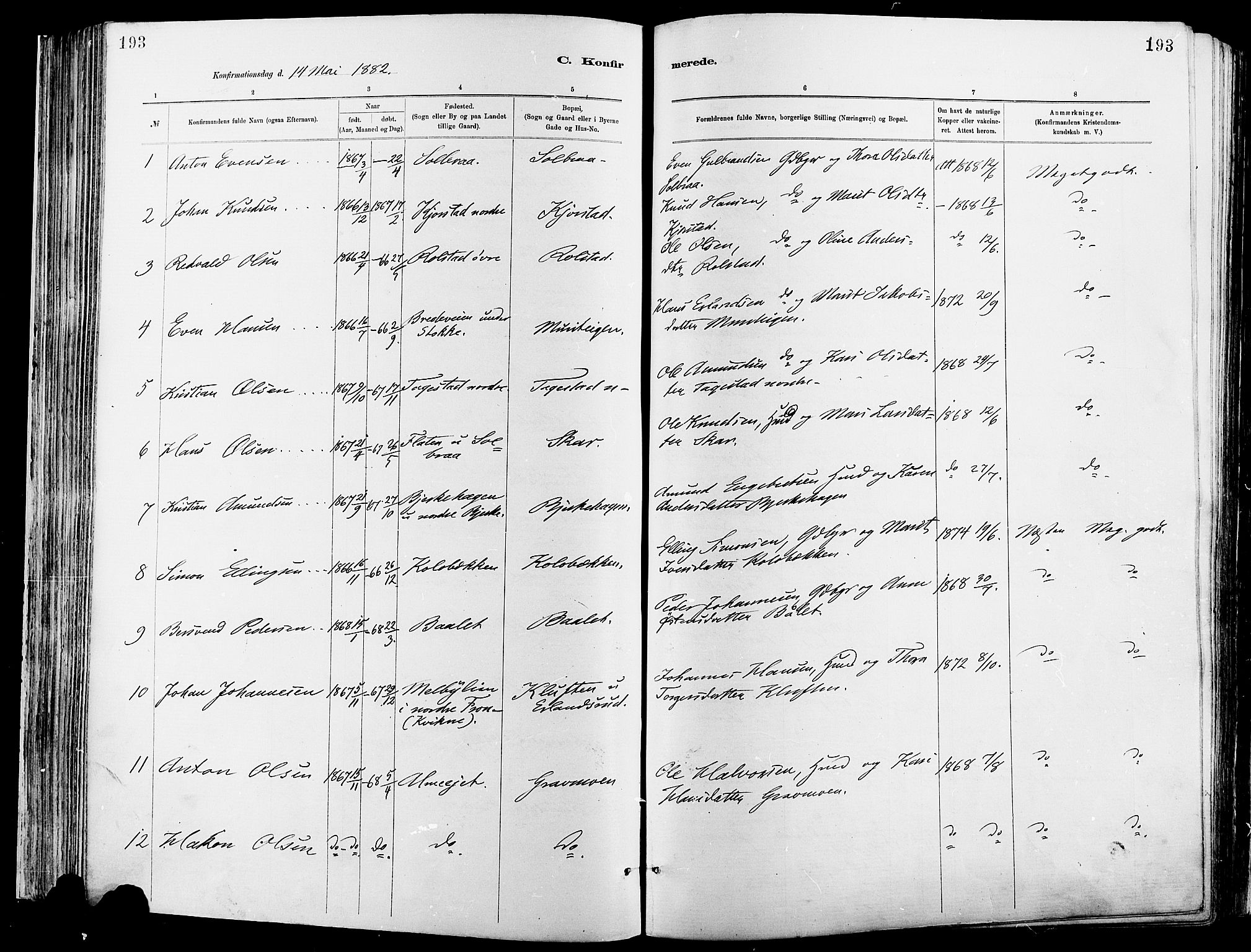 SAH, Sør-Fron prestekontor, H/Ha/Haa/L0003: Ministerialbok nr. 3, 1881-1897, s. 193