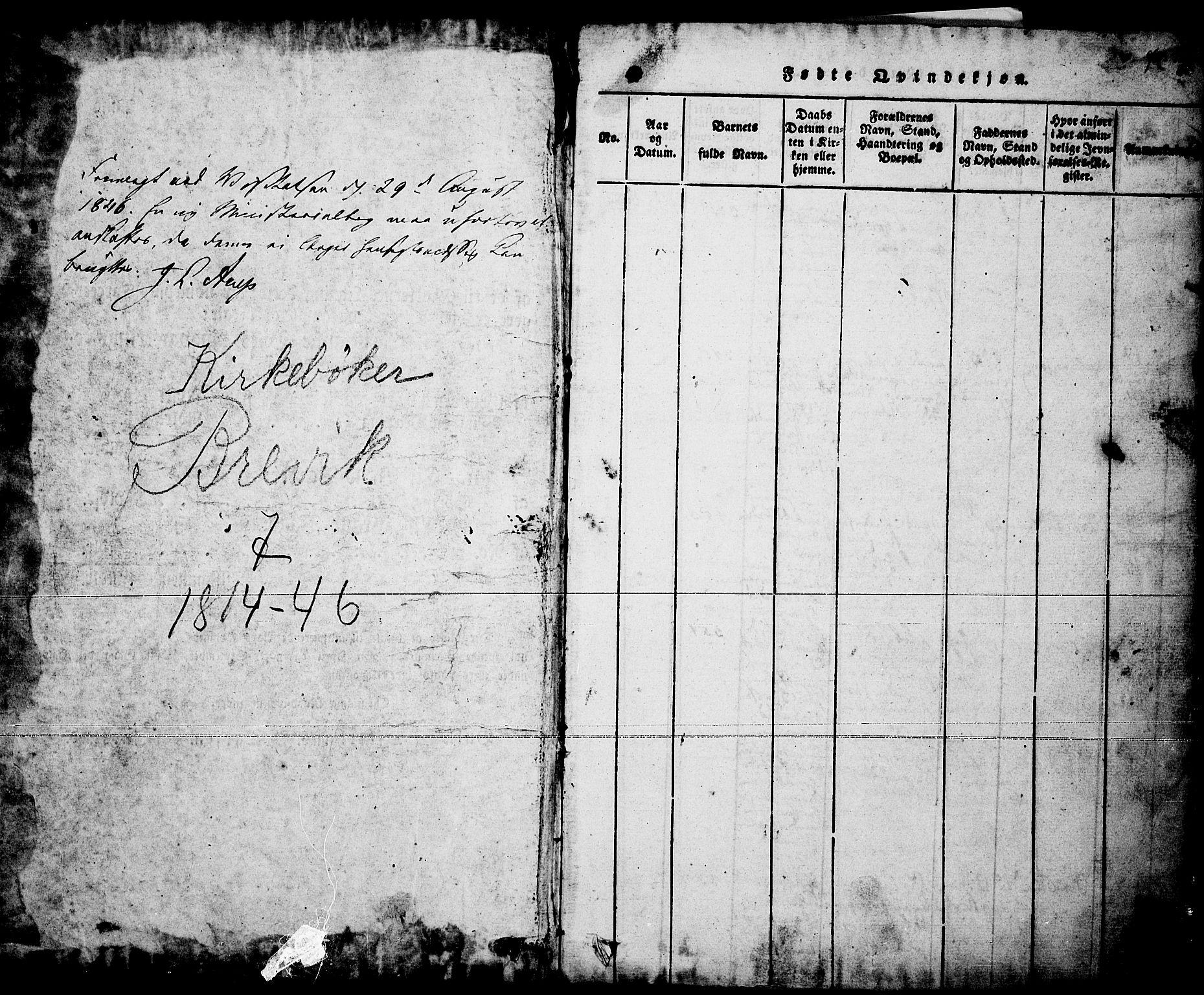SAKO, Brevik kirkebøker, F/Fa/L0004: Ministerialbok nr. 4, 1814-1846, s. 1