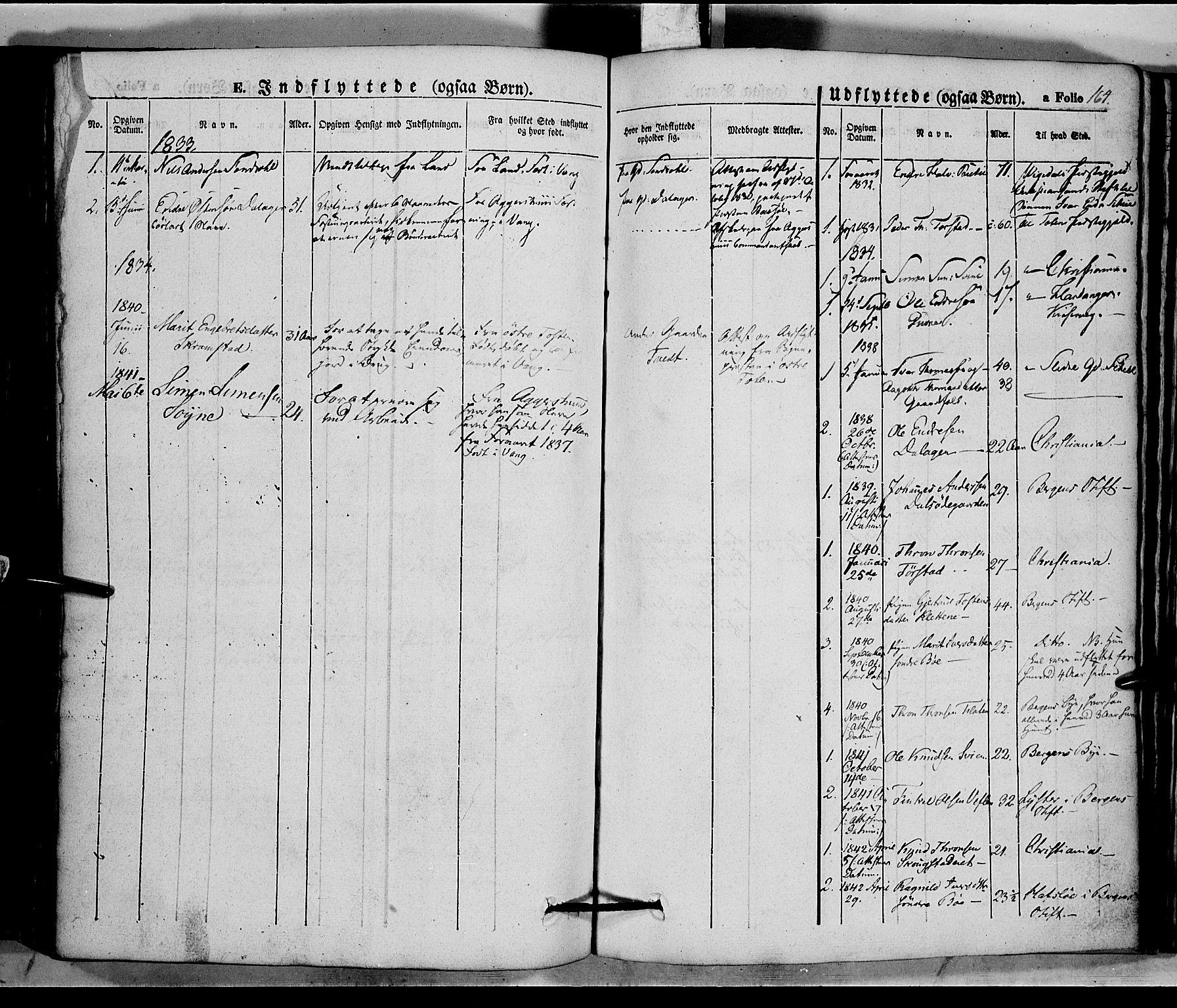 SAH, Vang prestekontor, Valdres, Ministerialbok nr. 5, 1831-1845, s. 164