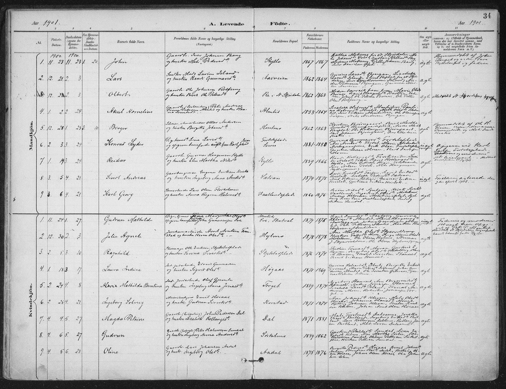SAT, Ministerialprotokoller, klokkerbøker og fødselsregistre - Nord-Trøndelag, 703/L0031: Ministerialbok nr. 703A04, 1893-1914, s. 34