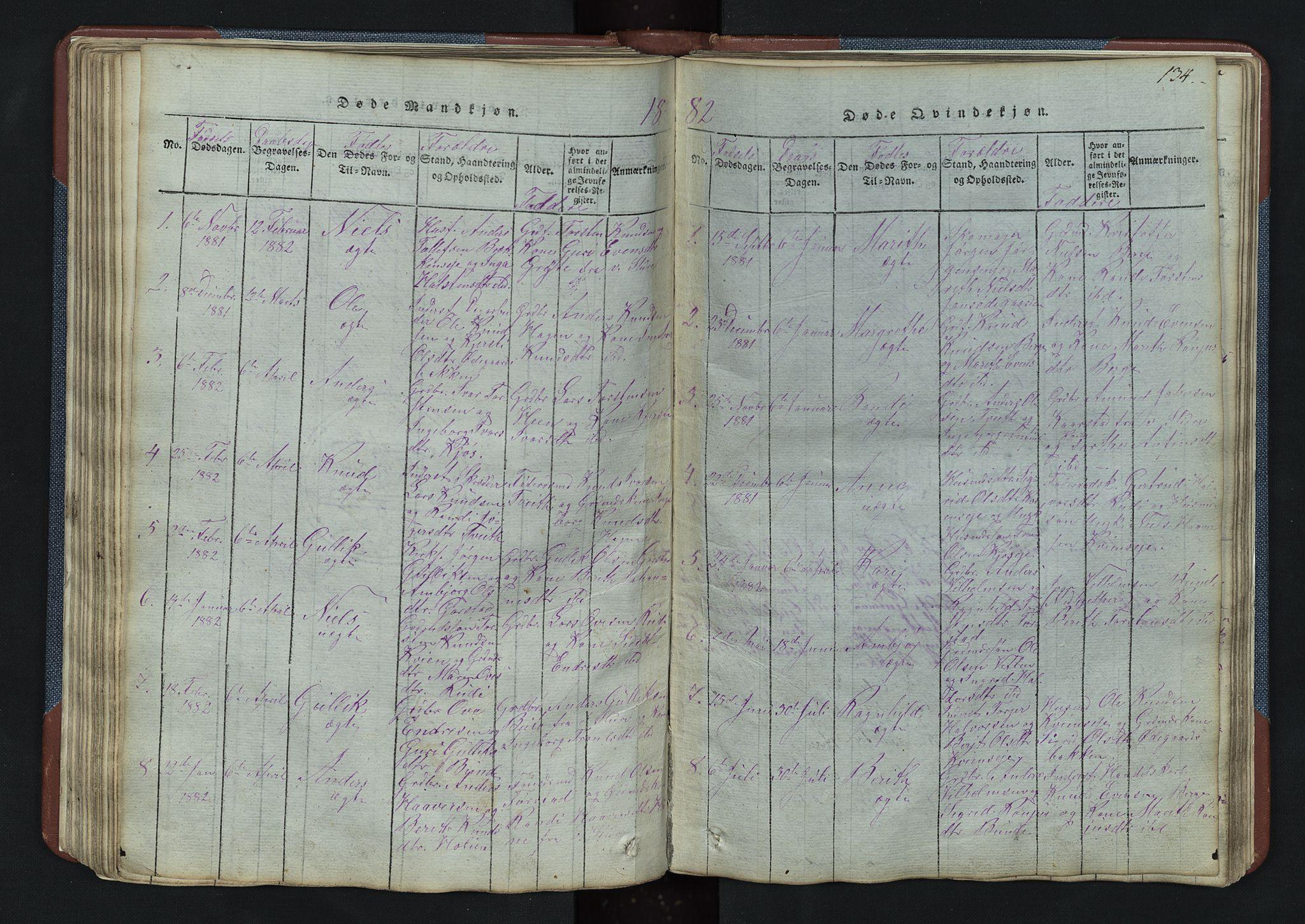 SAH, Vang prestekontor, Valdres, Klokkerbok nr. 3, 1814-1892, s. 134