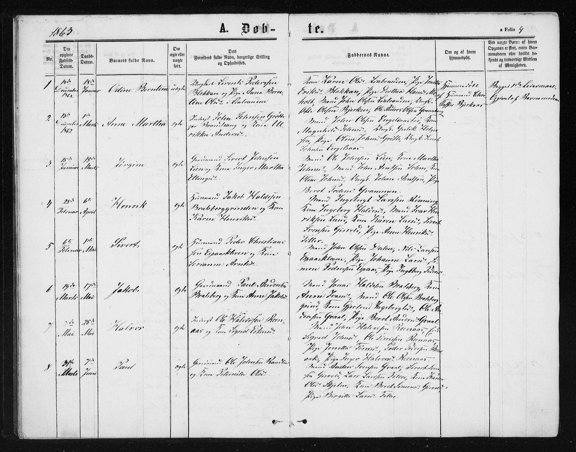 SAT, Ministerialprotokoller, klokkerbøker og fødselsregistre - Sør-Trøndelag, 608/L0333: Ministerialbok nr. 608A02, 1862-1876, s. 4