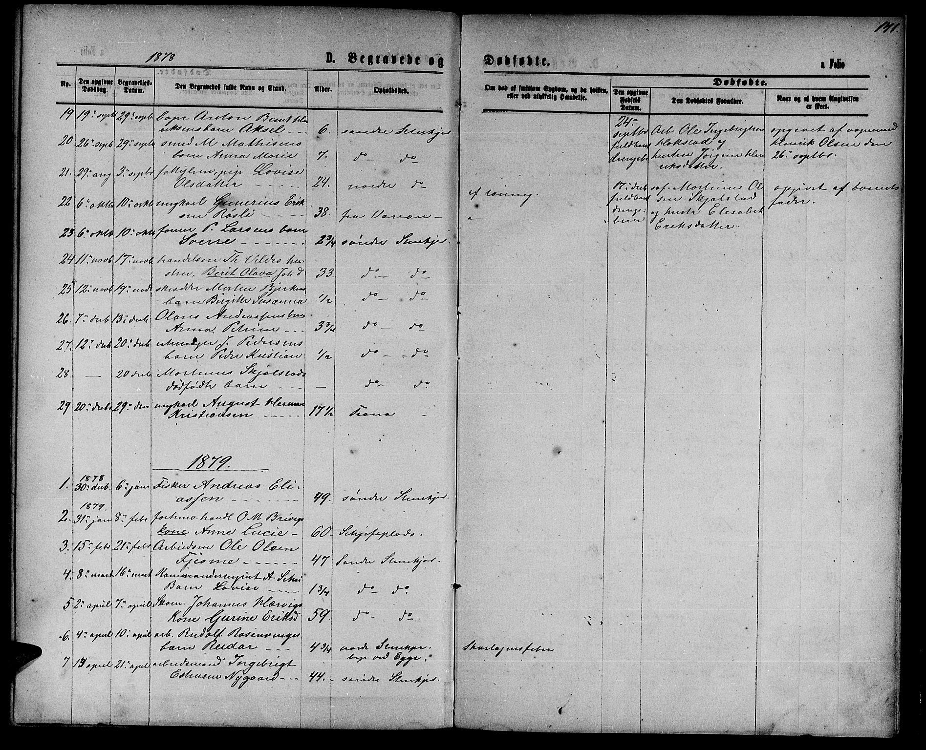 SAT, Ministerialprotokoller, klokkerbøker og fødselsregistre - Nord-Trøndelag, 739/L0373: Klokkerbok nr. 739C01, 1865-1882, s. 141
