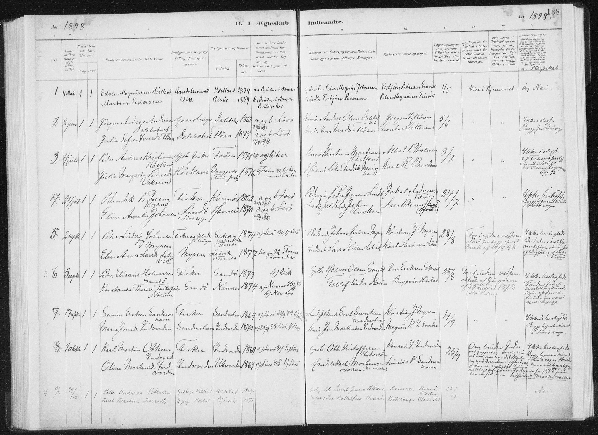 SAT, Ministerialprotokoller, klokkerbøker og fødselsregistre - Nord-Trøndelag, 771/L0597: Ministerialbok nr. 771A04, 1885-1910, s. 138