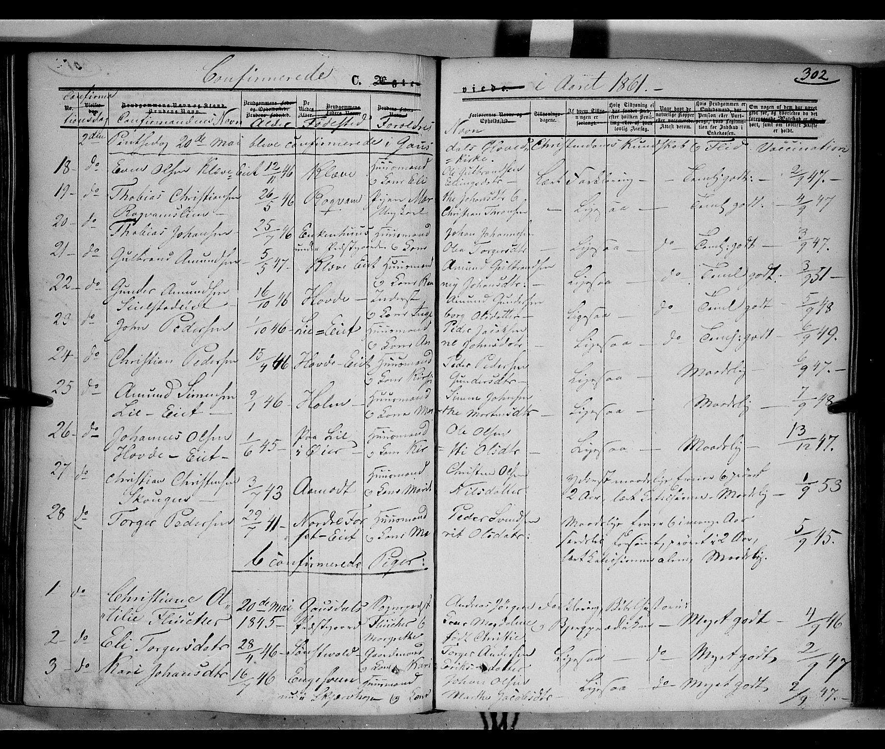 SAH, Gausdal prestekontor, Ministerialbok nr. 8, 1850-1861, s. 302