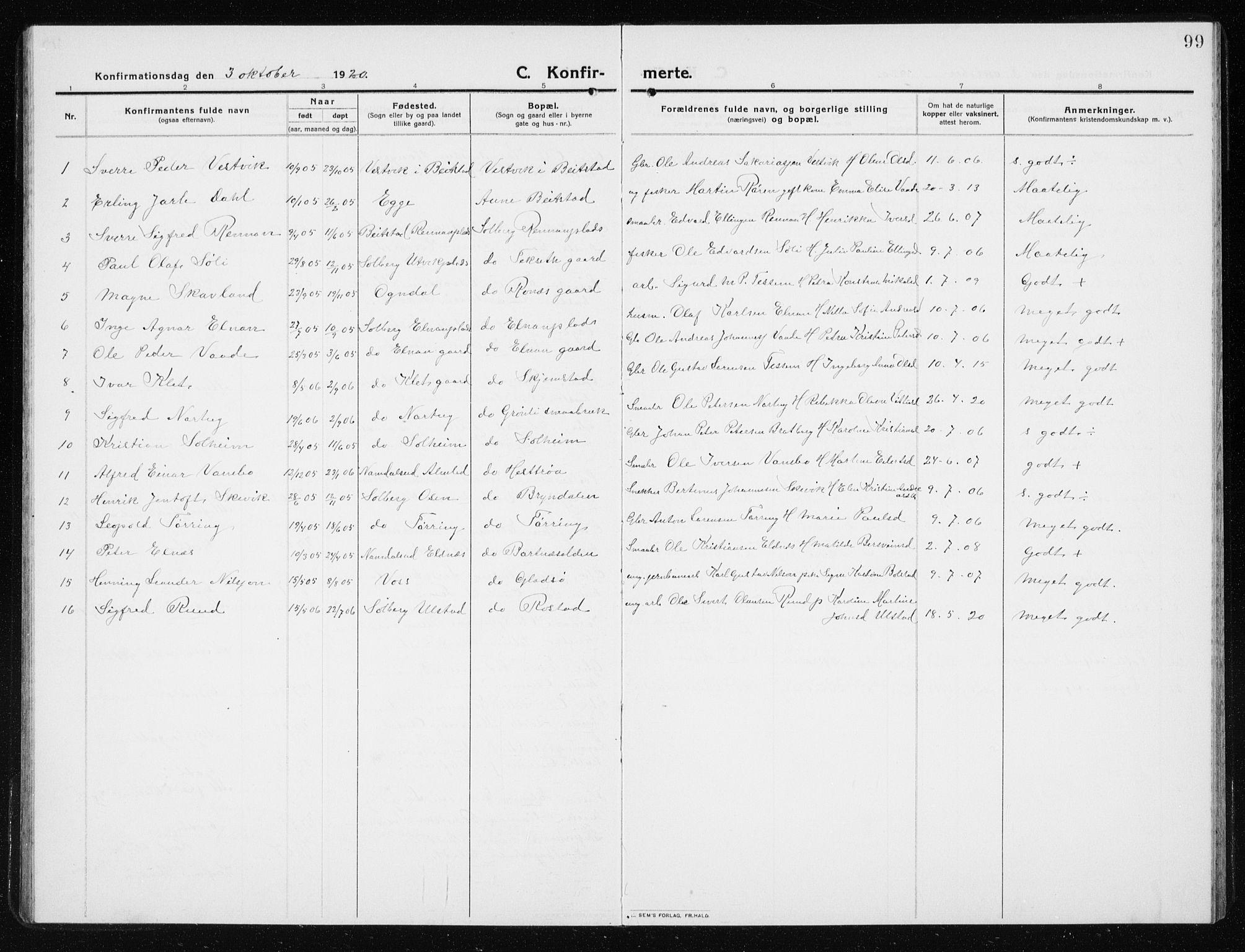 SAT, Ministerialprotokoller, klokkerbøker og fødselsregistre - Nord-Trøndelag, 741/L0402: Klokkerbok nr. 741C03, 1911-1926, s. 99