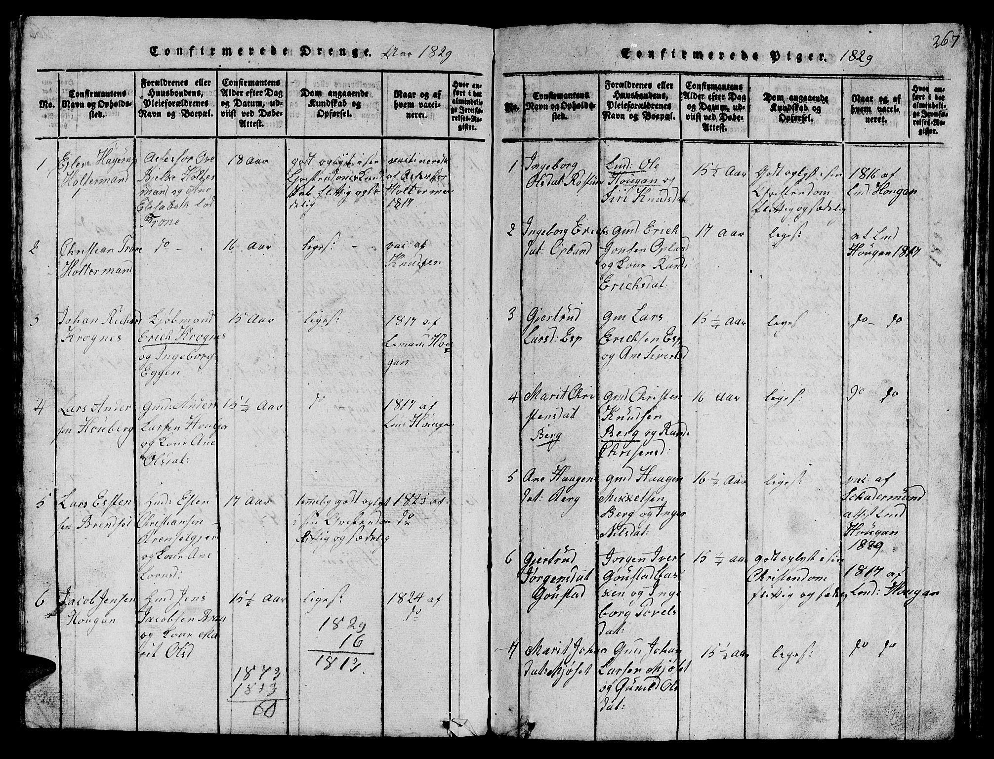 SAT, Ministerialprotokoller, klokkerbøker og fødselsregistre - Sør-Trøndelag, 612/L0385: Klokkerbok nr. 612C01, 1816-1845, s. 267