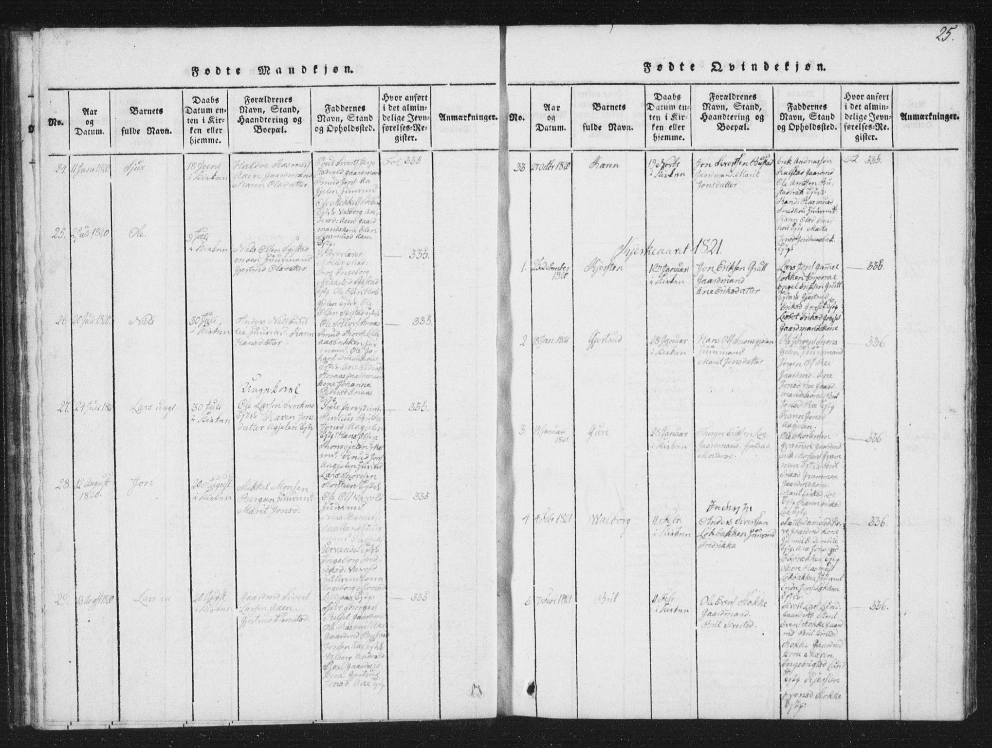 SAT, Ministerialprotokoller, klokkerbøker og fødselsregistre - Sør-Trøndelag, 672/L0862: Klokkerbok nr. 672C01, 1816-1831, s. 25