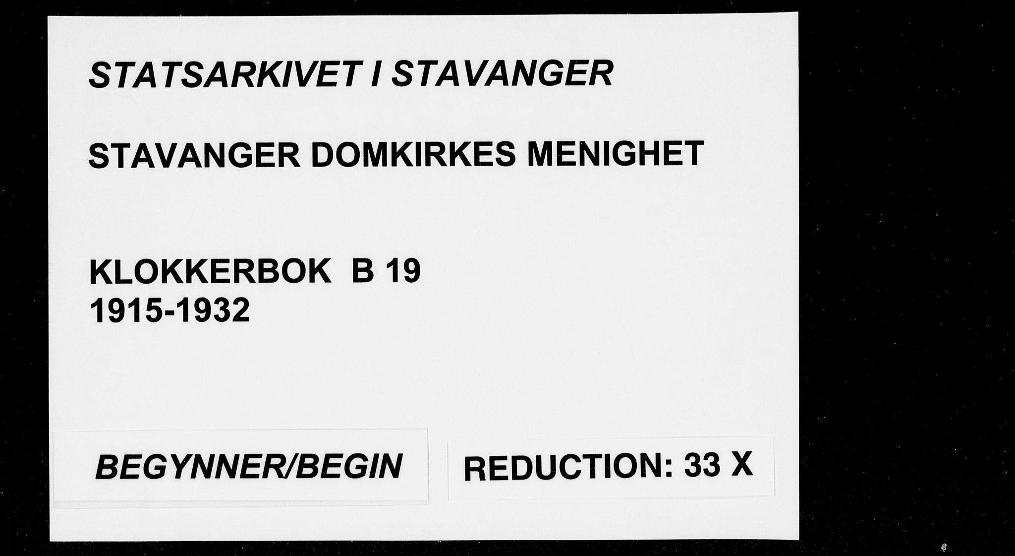 SAST, Domkirken sokneprestkontor, 30/30BB/L0019: Klokkerbok nr. B 19, 1915-1932