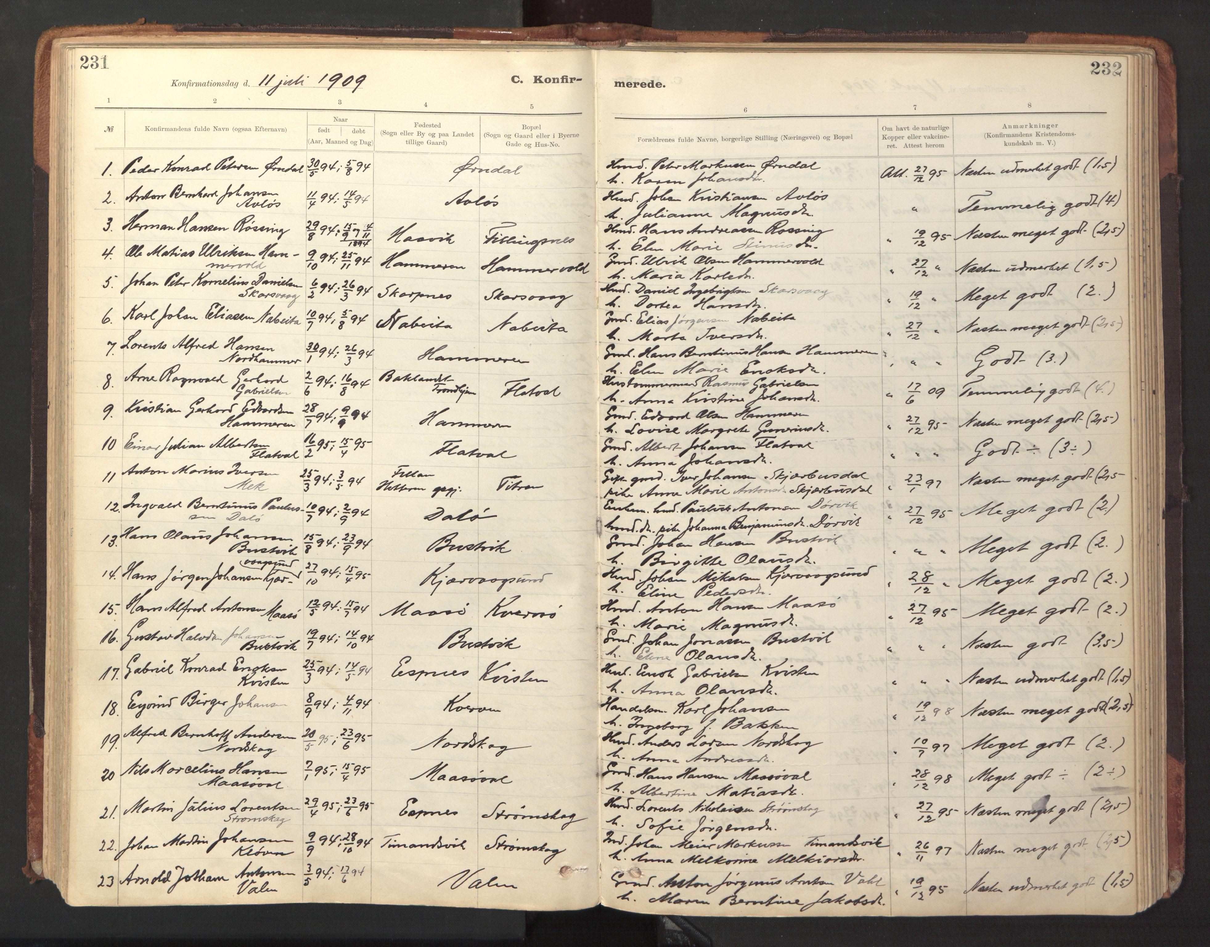 SAT, Ministerialprotokoller, klokkerbøker og fødselsregistre - Sør-Trøndelag, 641/L0596: Ministerialbok nr. 641A02, 1898-1915, s. 231-232
