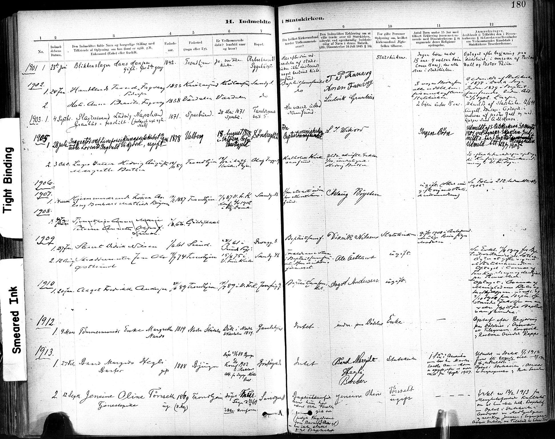 SAT, Ministerialprotokoller, klokkerbøker og fødselsregistre - Sør-Trøndelag, 602/L0120: Ministerialbok nr. 602A18, 1880-1913, s. 180