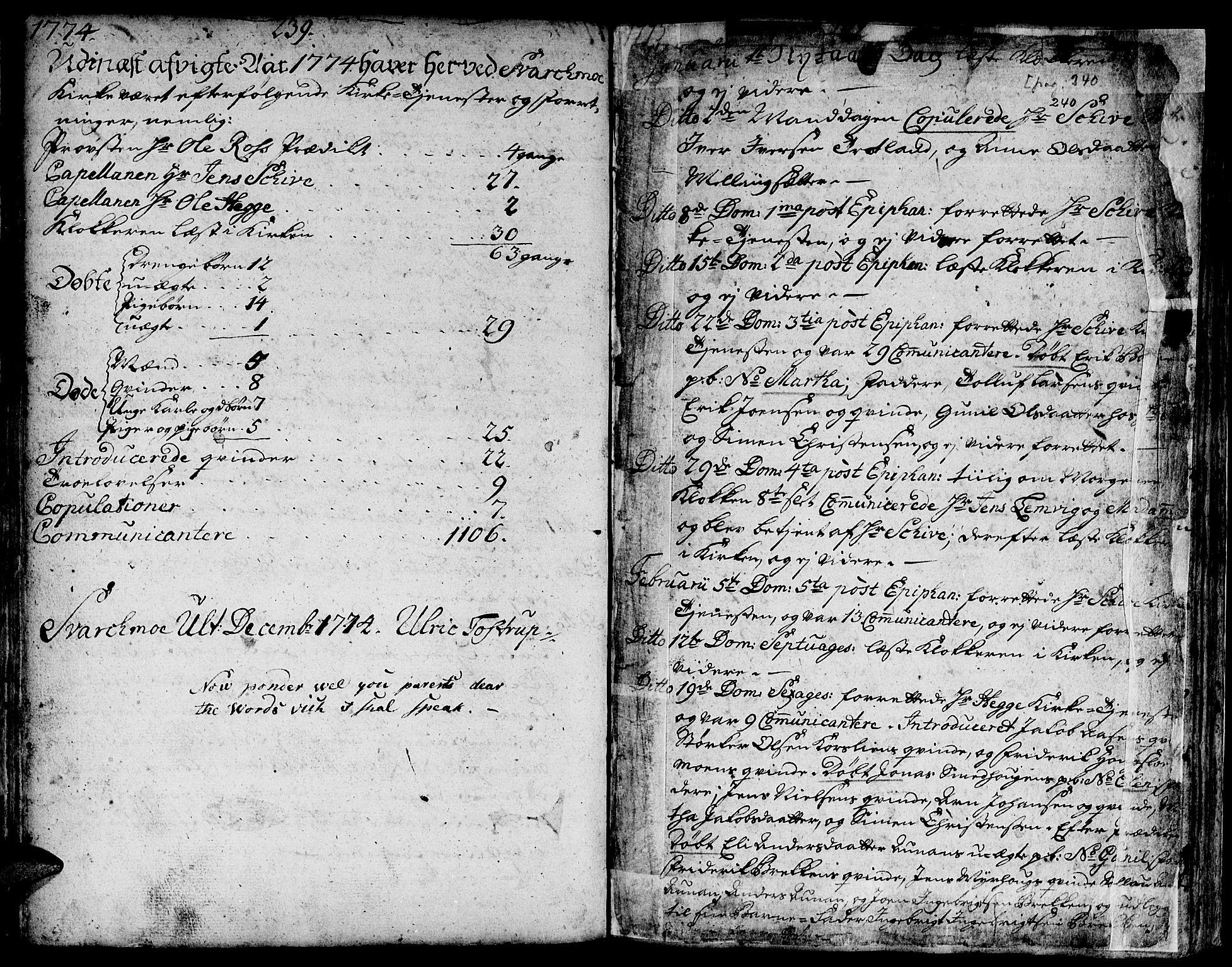 SAT, Ministerialprotokoller, klokkerbøker og fødselsregistre - Sør-Trøndelag, 671/L0840: Ministerialbok nr. 671A02, 1756-1794, s. 239-240