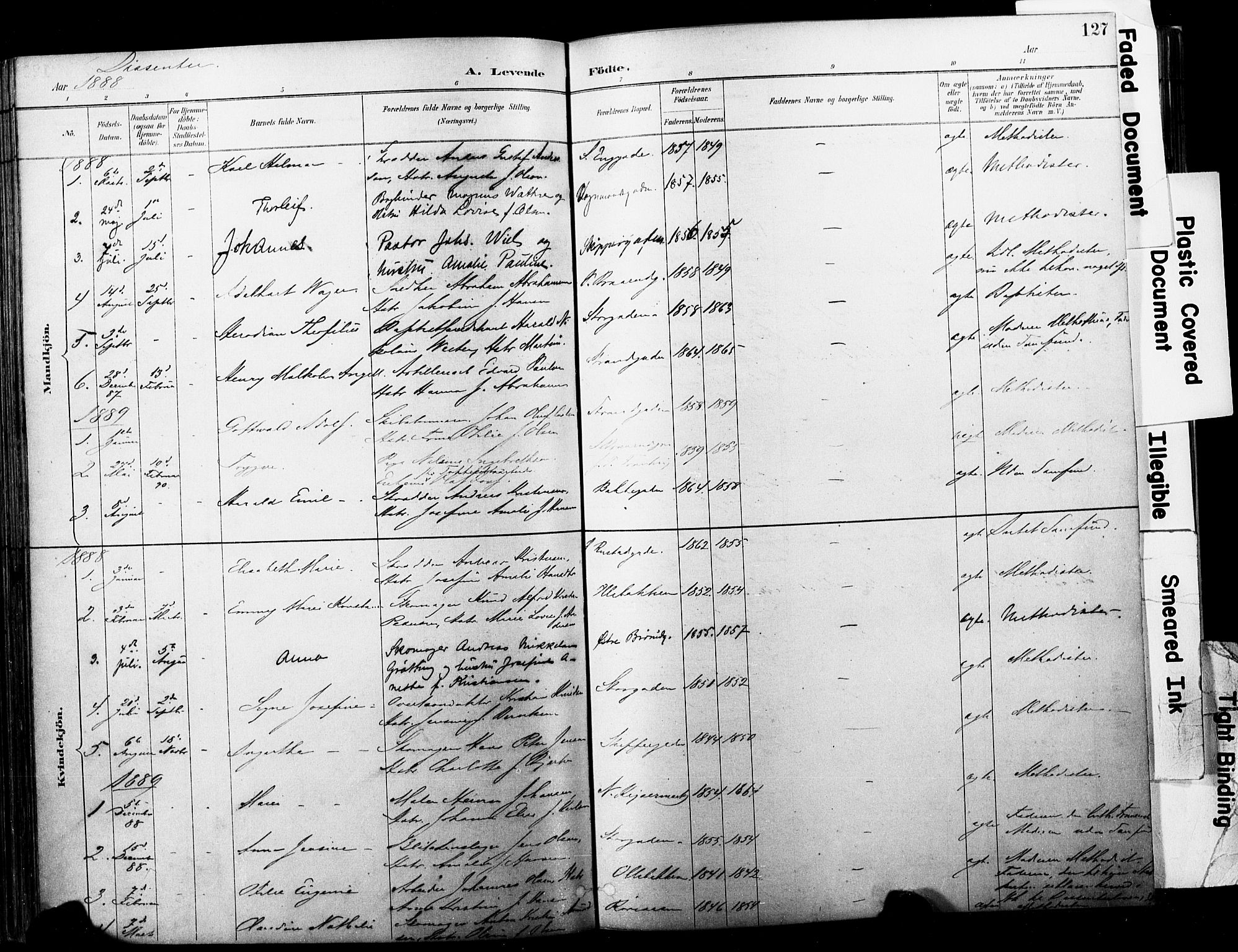 SAKO, Horten kirkebøker, F/Fa/L0004: Ministerialbok nr. 4, 1888-1895, s. 127