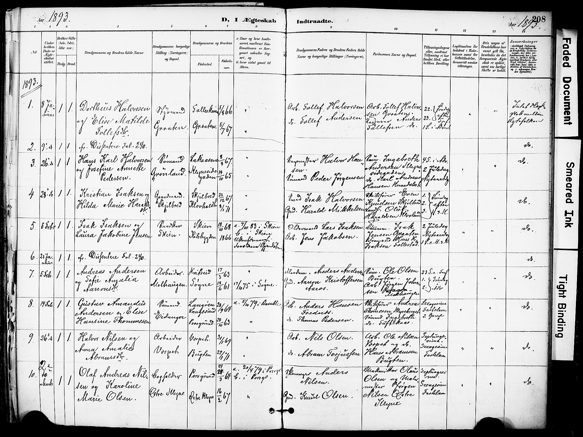 SAKO, Solum kirkebøker, F/Fa/L0010: Ministerialbok nr. I 10, 1888-1898, s. 208