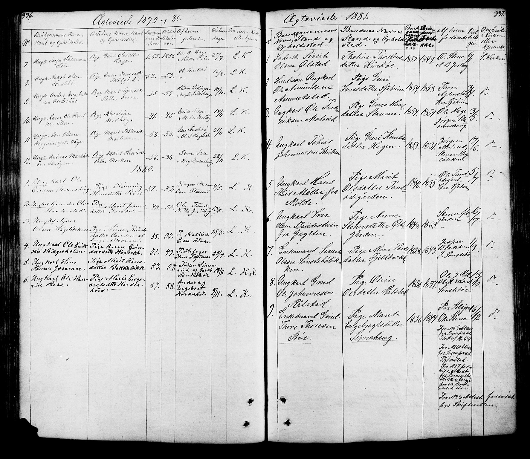 SAH, Lesja prestekontor, Klokkerbok nr. 5, 1850-1894, s. 336-337