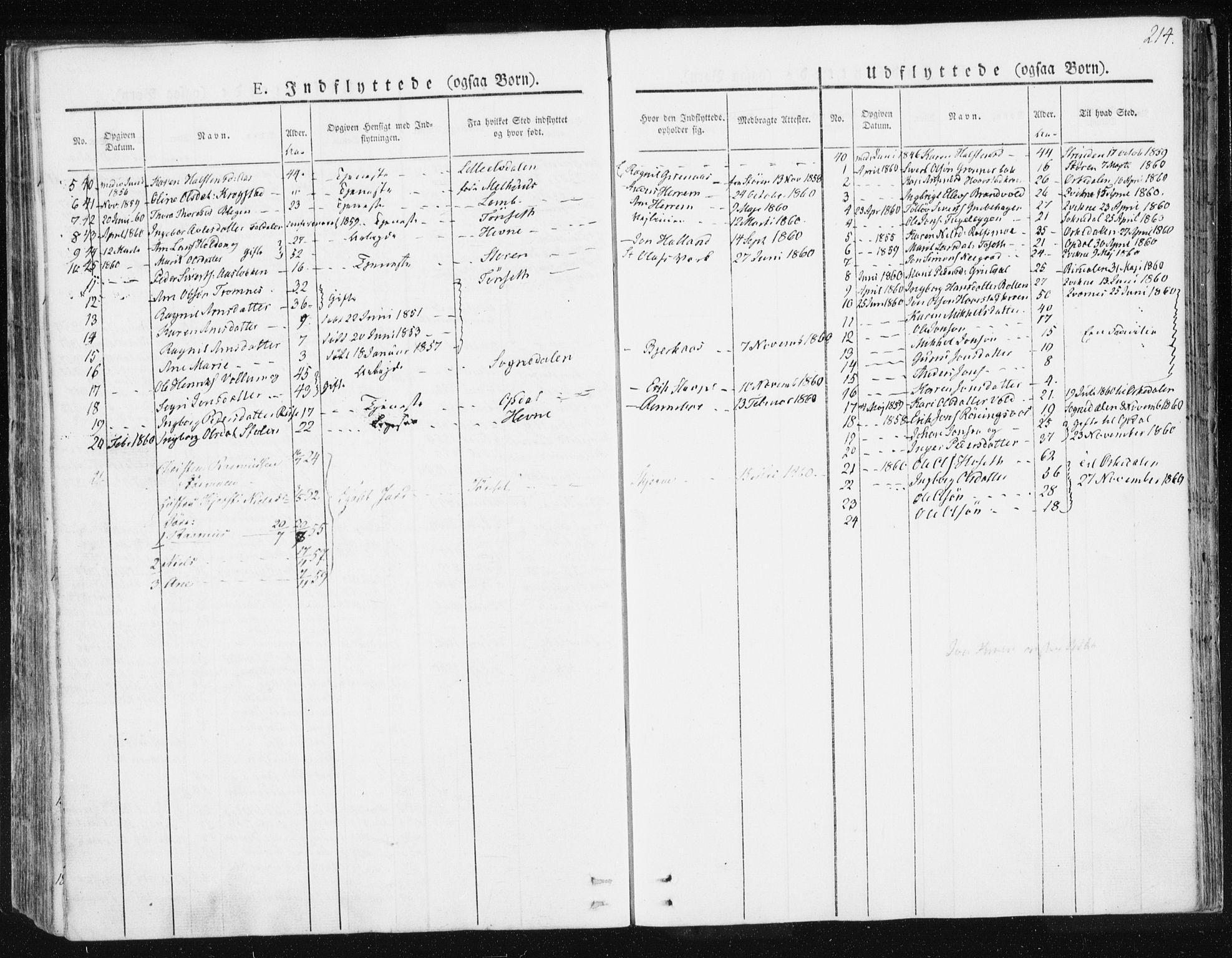 SAT, Ministerialprotokoller, klokkerbøker og fødselsregistre - Sør-Trøndelag, 674/L0869: Ministerialbok nr. 674A01, 1829-1860, s. 214