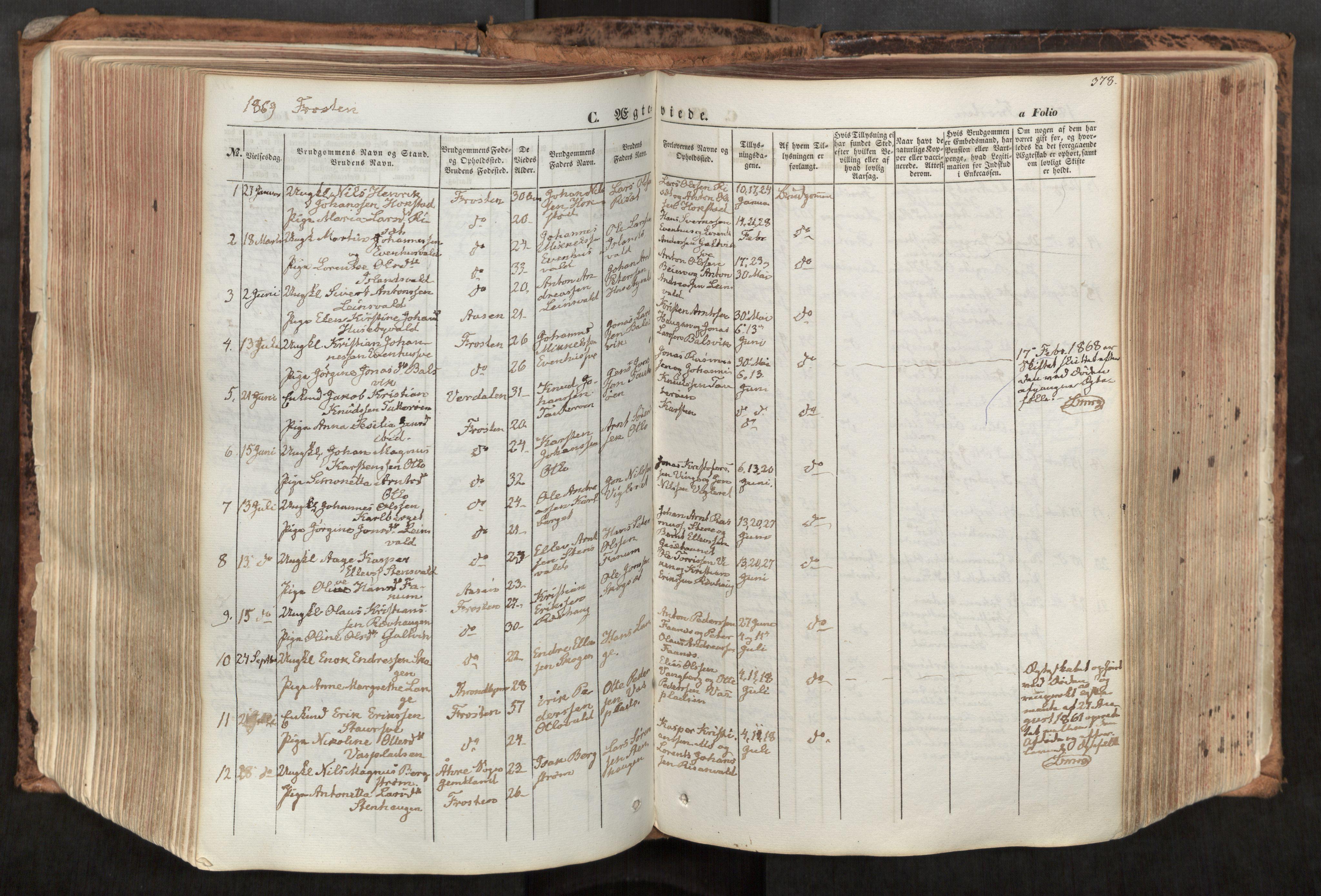 SAT, Ministerialprotokoller, klokkerbøker og fødselsregistre - Nord-Trøndelag, 713/L0116: Ministerialbok nr. 713A07, 1850-1877, s. 378
