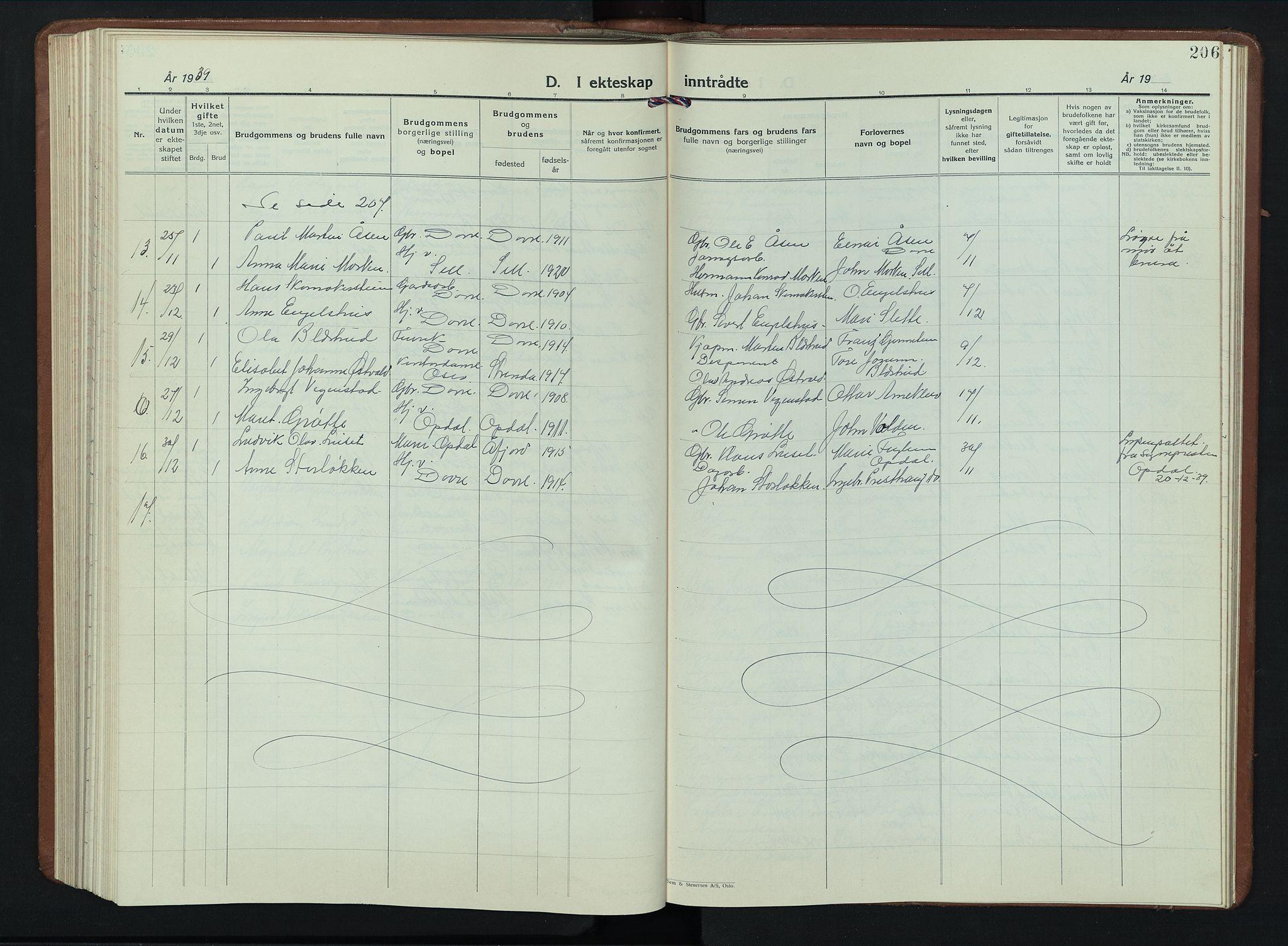 SAH, Dovre prestekontor, Klokkerbok nr. 4, 1926-1949, s. 206