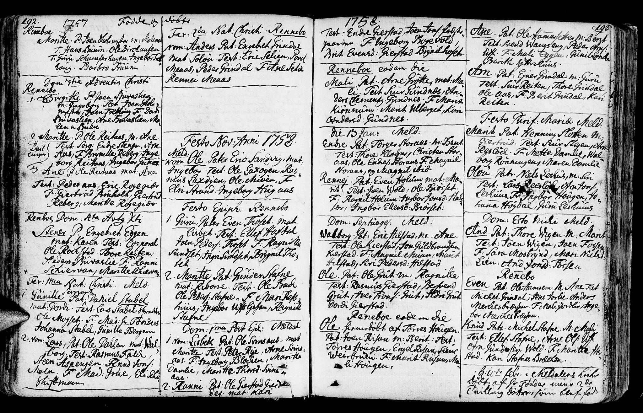 SAT, Ministerialprotokoller, klokkerbøker og fødselsregistre - Sør-Trøndelag, 672/L0851: Ministerialbok nr. 672A04, 1751-1775, s. 192-193