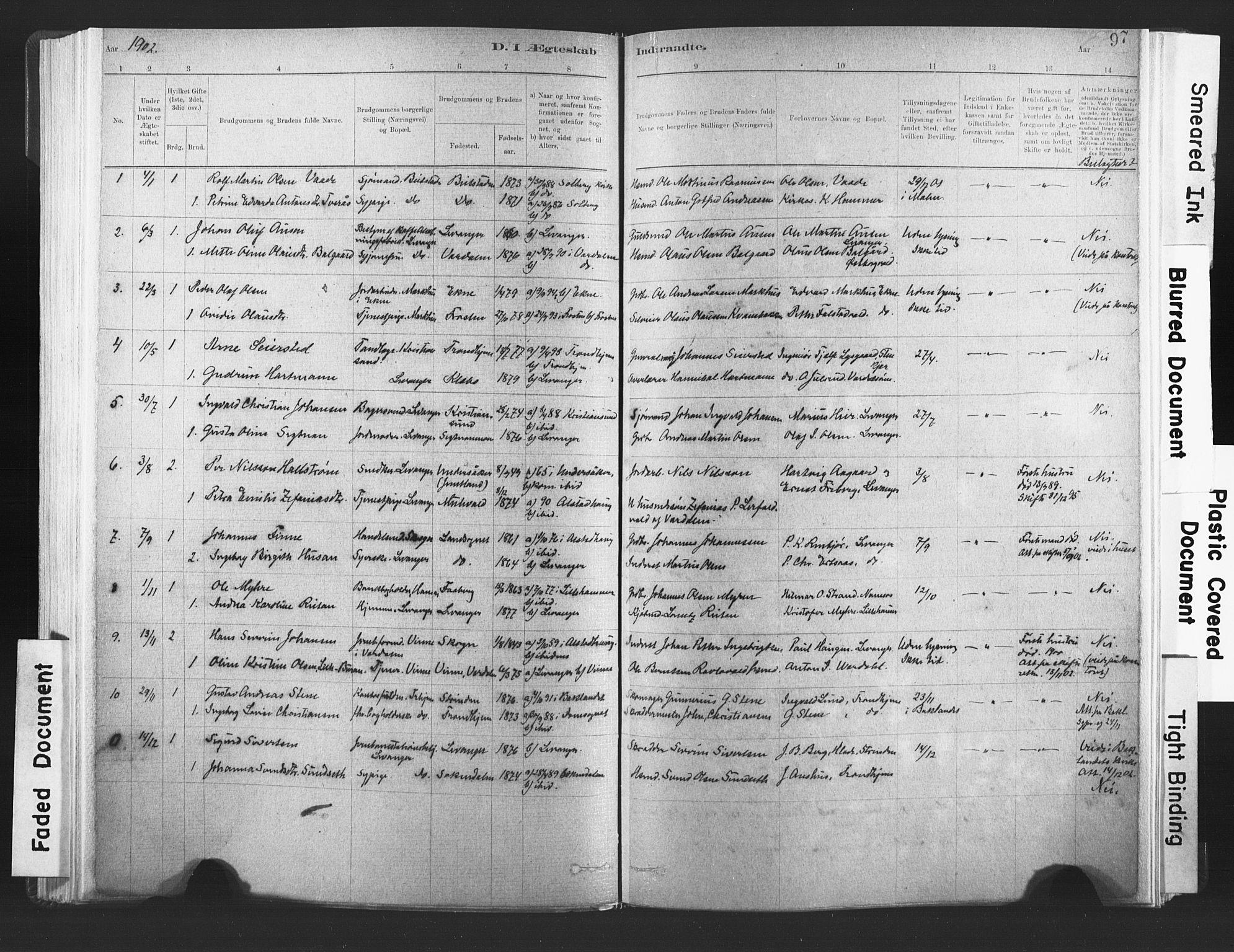 SAT, Ministerialprotokoller, klokkerbøker og fødselsregistre - Nord-Trøndelag, 720/L0189: Ministerialbok nr. 720A05, 1880-1911, s. 97
