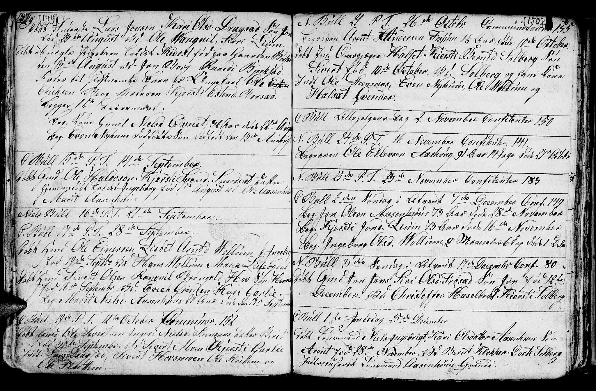 SAT, Ministerialprotokoller, klokkerbøker og fødselsregistre - Sør-Trøndelag, 689/L1042: Klokkerbok nr. 689C01, 1812-1841, s. 149-150