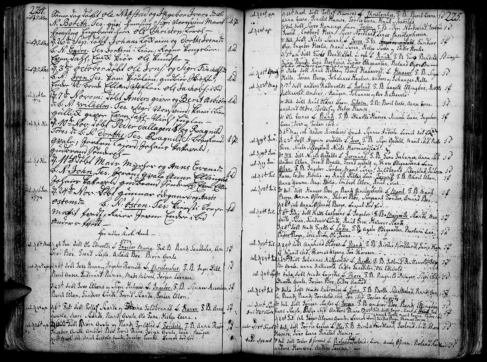 SAH, Vang prestekontor, Valdres, Ministerialbok nr. 1, 1730-1796, s. 224-225