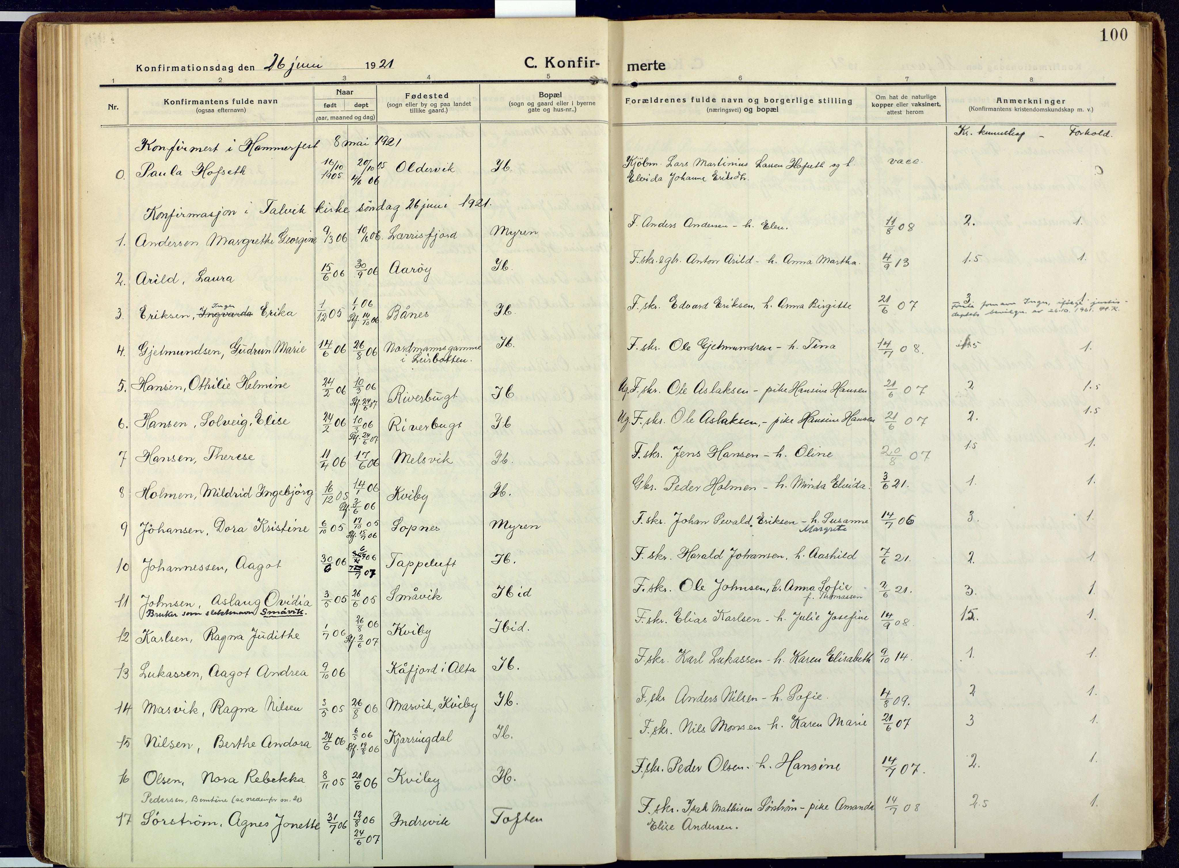 SATØ, Talvik sokneprestkontor, H/Ha/L0018kirke: Ministerialbok nr. 18, 1915-1924, s. 100