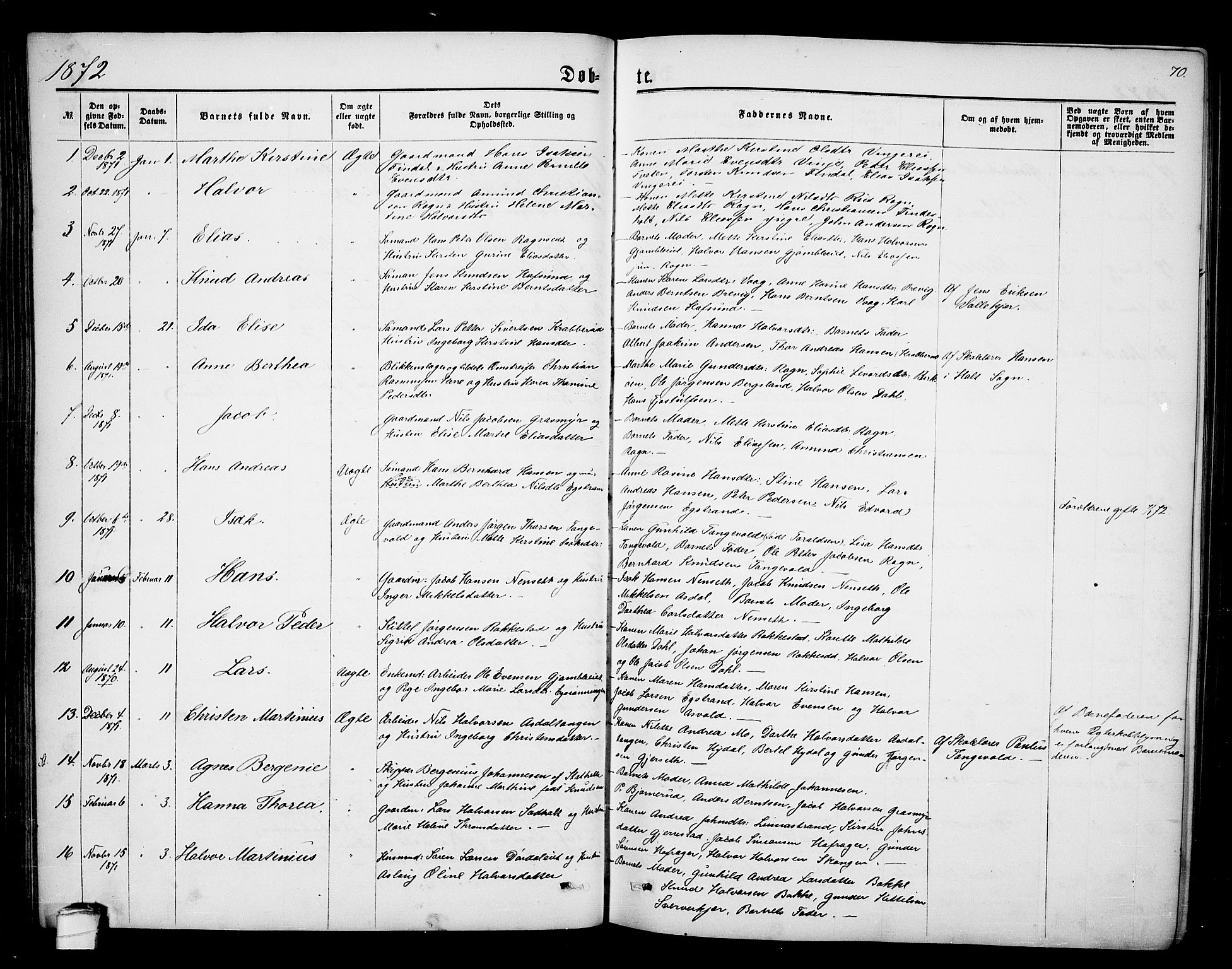 SAKO, Bamble kirkebøker, G/Ga/L0006: Klokkerbok nr. I 6, 1860-1876, s. 70