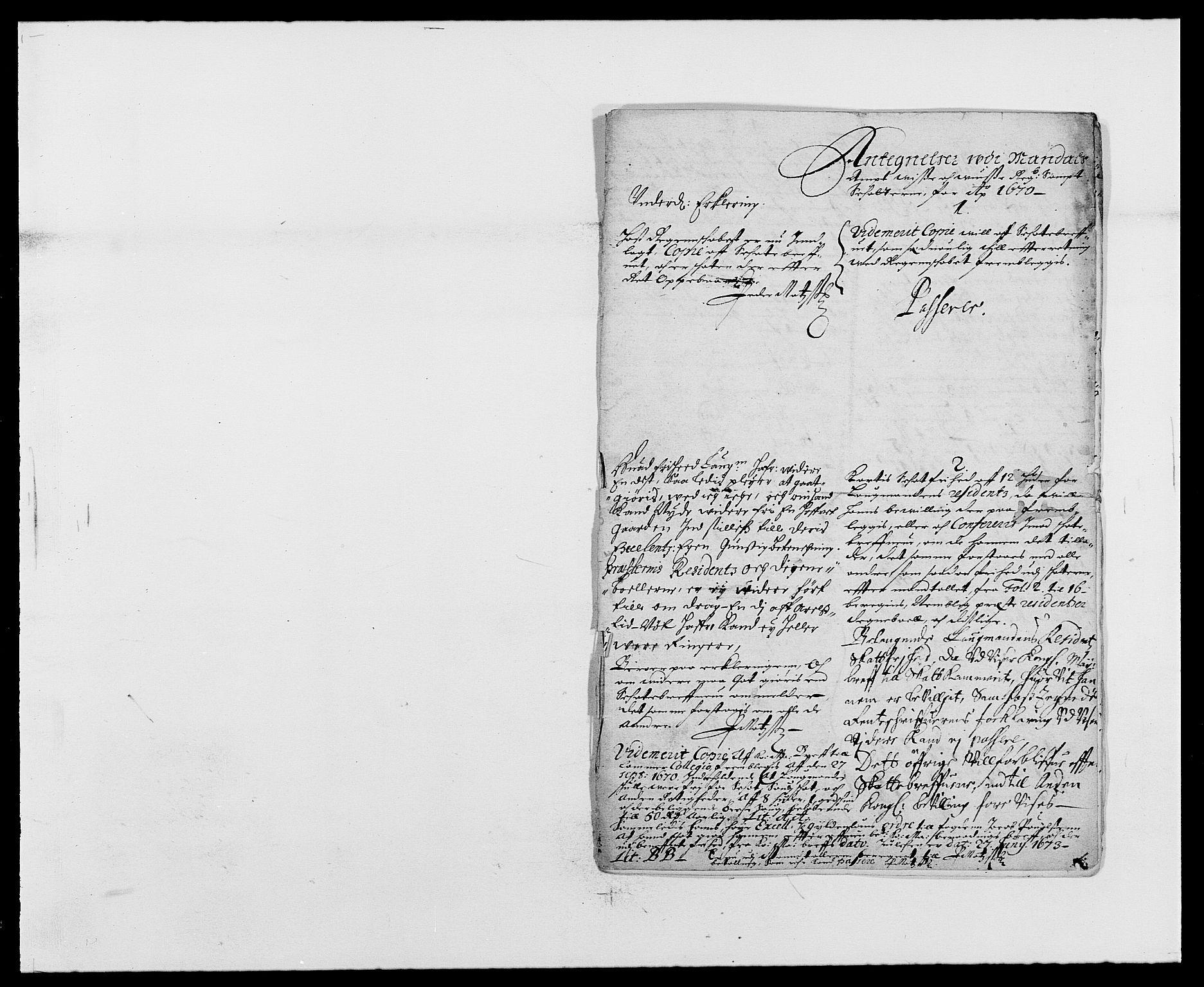 RA, Rentekammeret inntil 1814, Reviderte regnskaper, Fogderegnskap, R42/L2538: Mandal fogderi, 1667-1670, s. 282