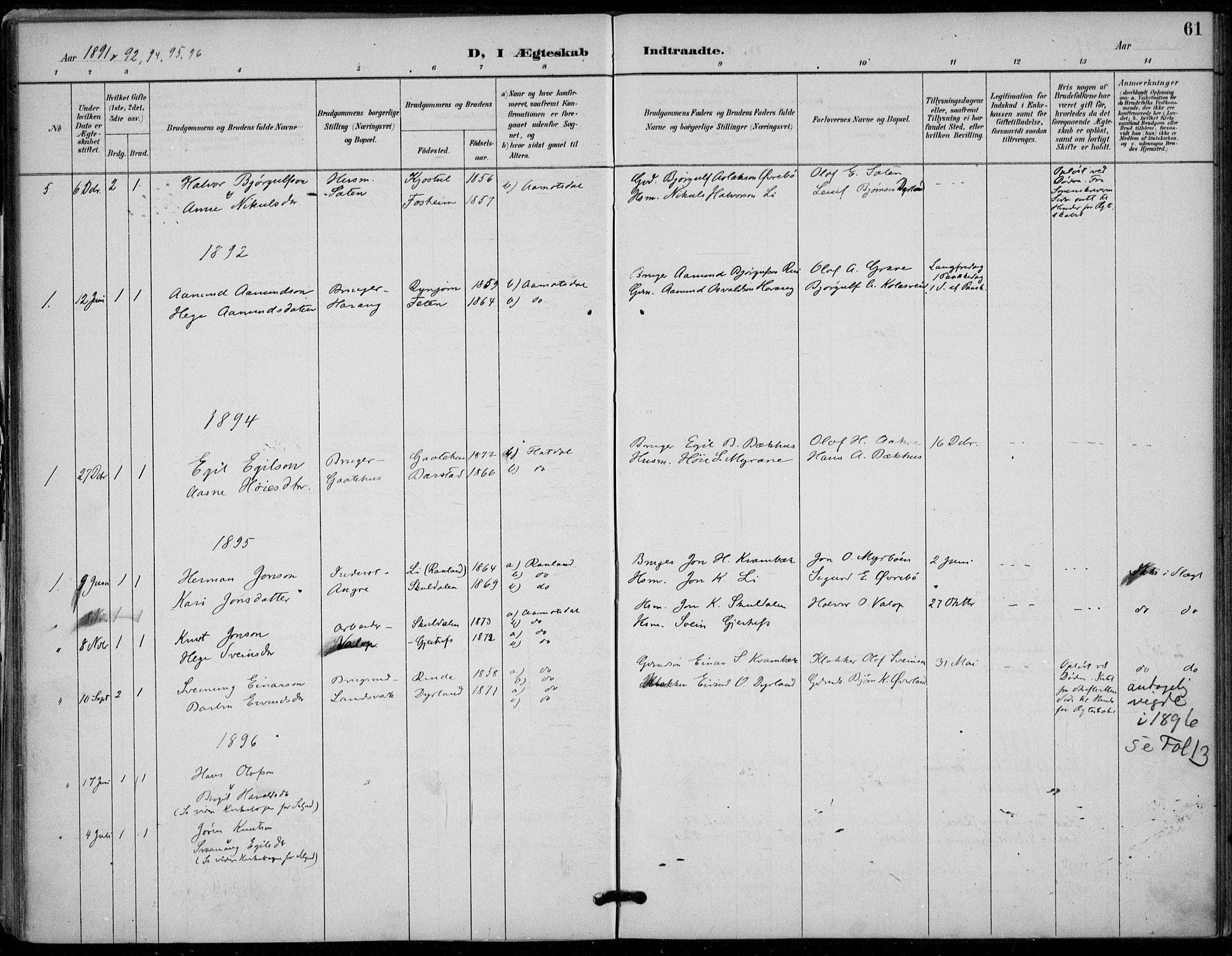 SAKO, Seljord kirkebøker, F/Fc/L0002: Ministerialbok nr. III 2, 1887-1920, s. 61
