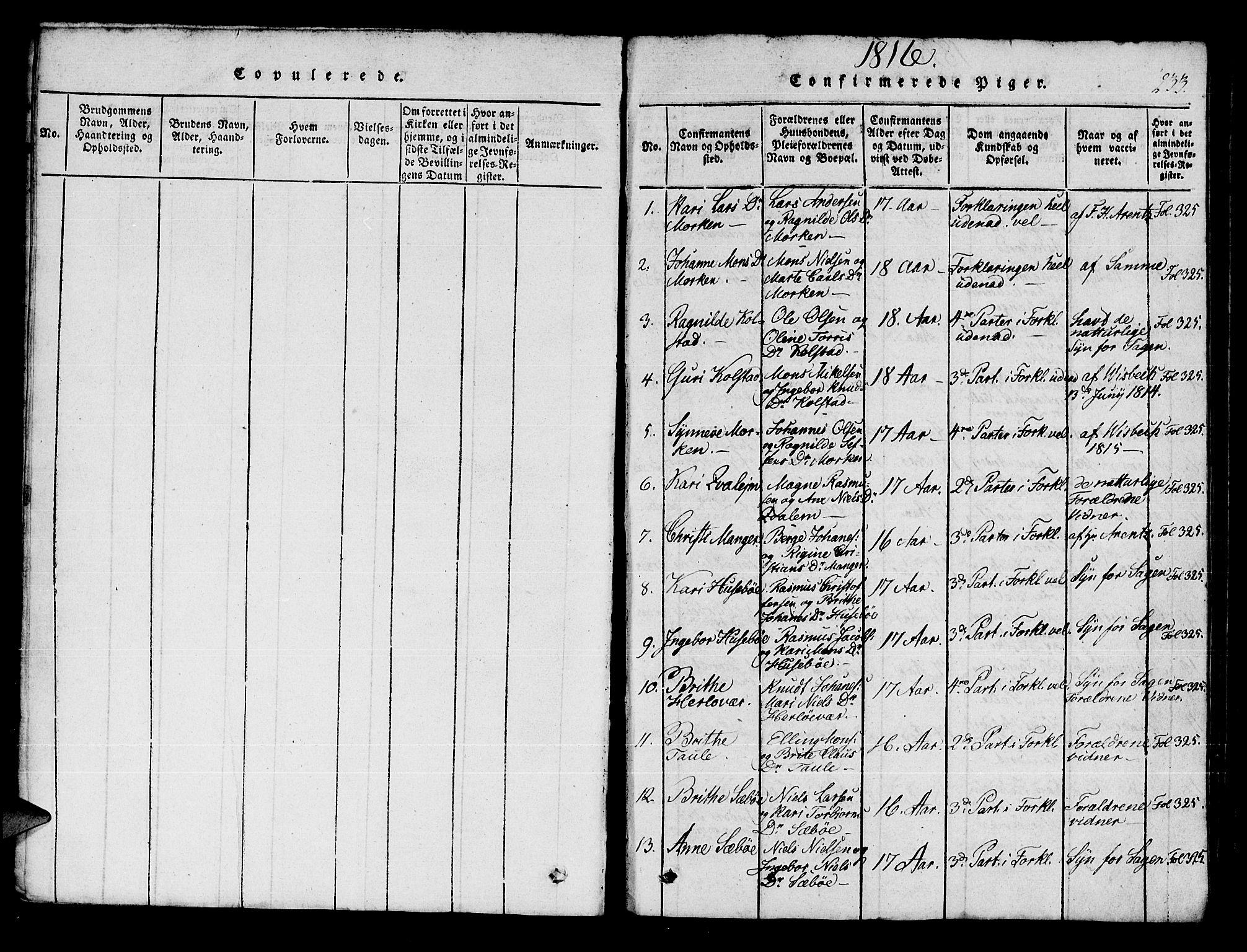 SAB, Manger sokneprestembete, H/Haa: Ministerialbok nr. A 3, 1816-1824, s. 233