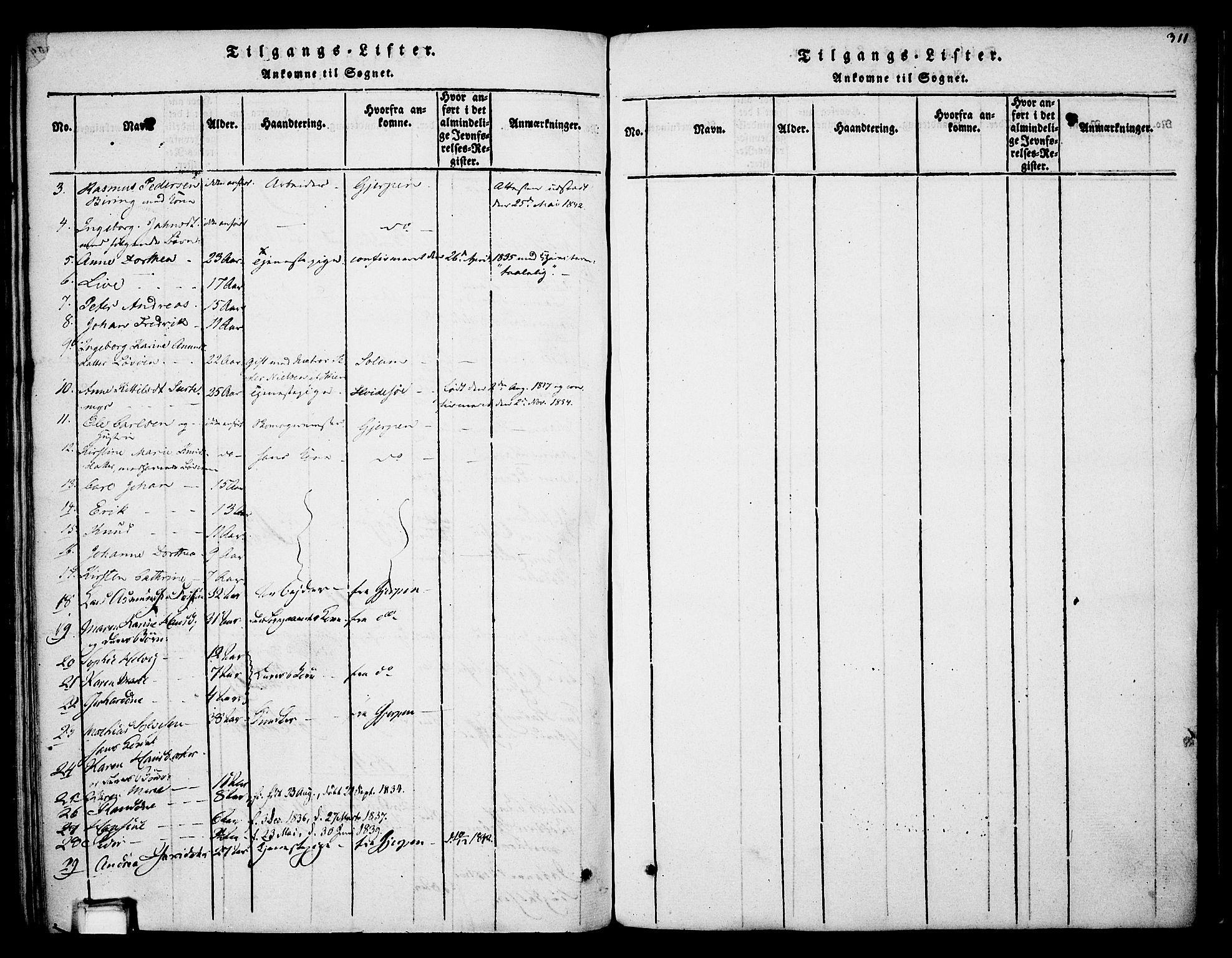 SAKO, Skien kirkebøker, F/Fa/L0005: Ministerialbok nr. 5, 1814-1843, s. 311