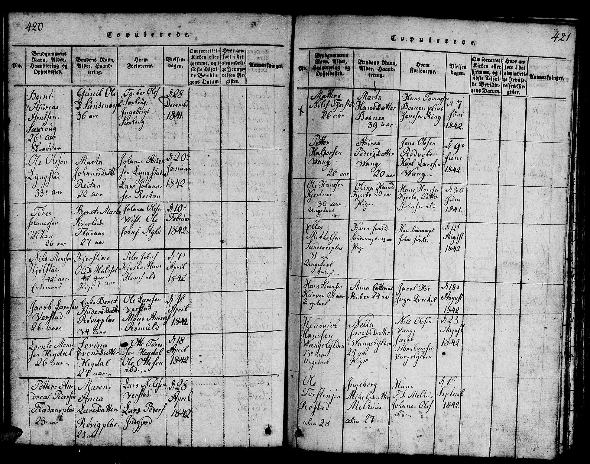 SAT, Ministerialprotokoller, klokkerbøker og fødselsregistre - Nord-Trøndelag, 730/L0298: Klokkerbok nr. 730C01, 1816-1849, s. 420-421