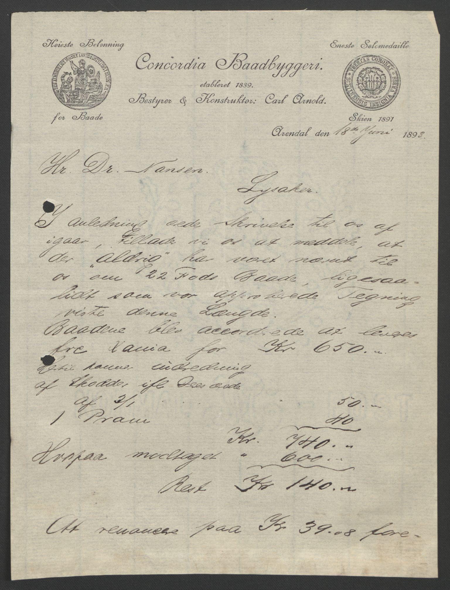 RA, Arbeidskomitéen for Fridtjof Nansens polarekspedisjon, D/L0003: Innk. brev og telegrammer vedr. proviant og utrustning, 1893, s. 113