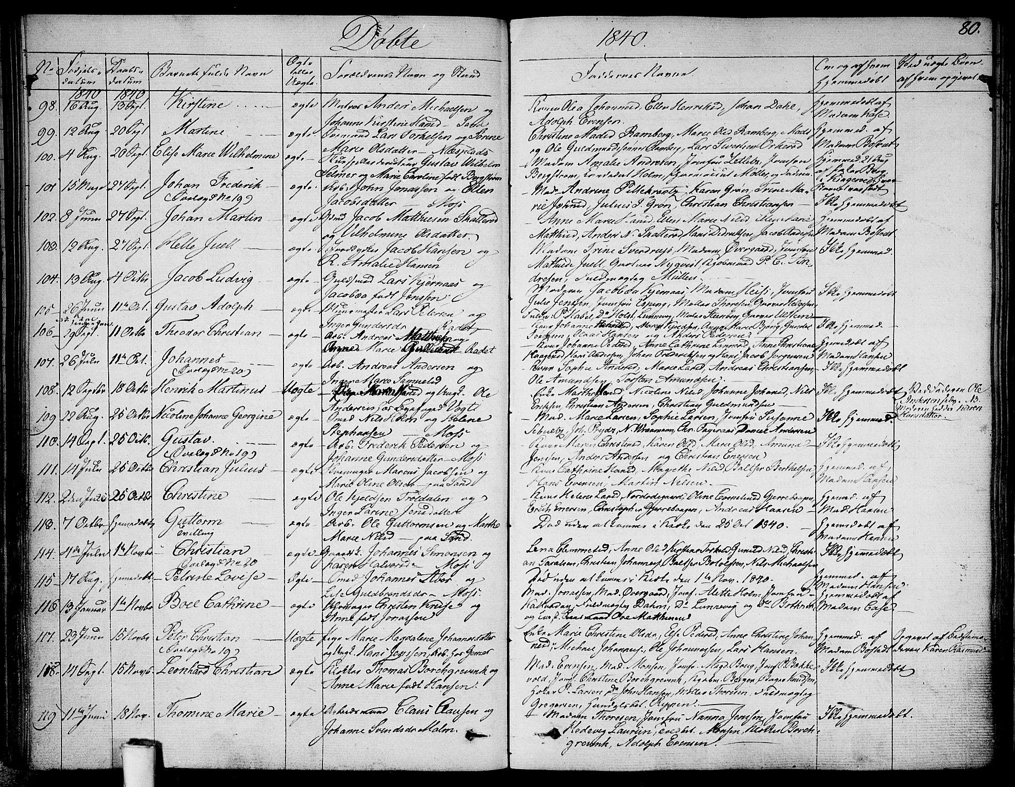 SAO, Moss prestekontor Kirkebøker, F/Fa/Faa/L0006: Ministerialbok nr. I 6, 1829-1844, s. 80